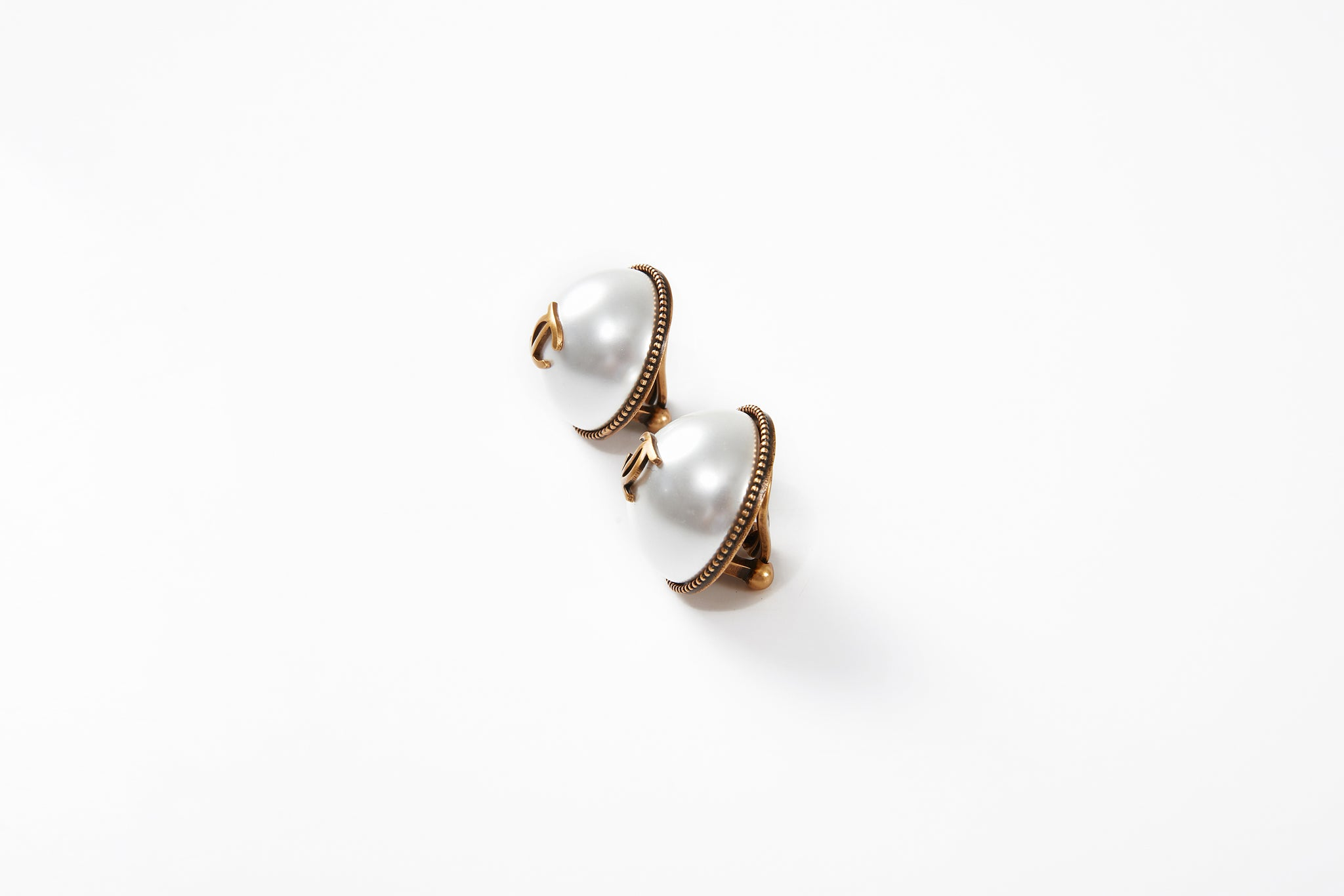 Pearl Earclips with LC Logo