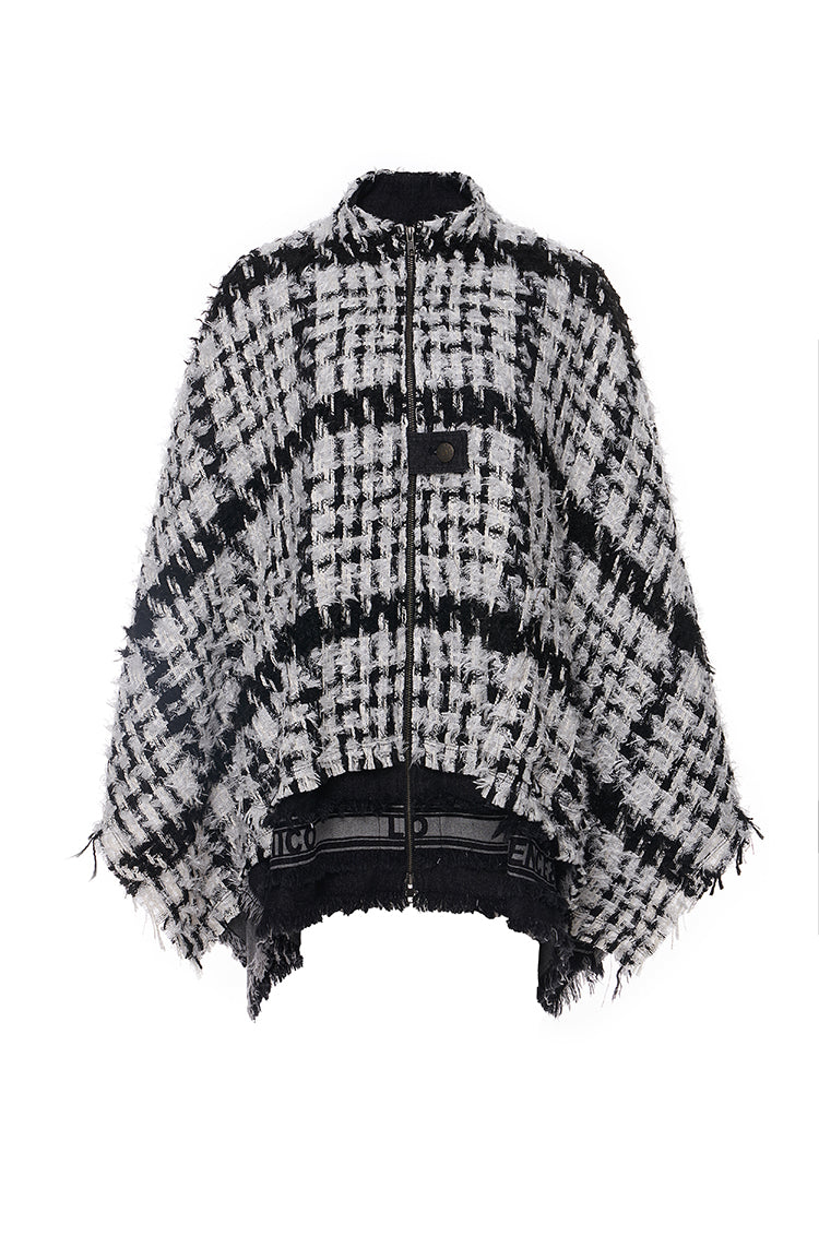Black and White Tweed Long Sleeves Cape
