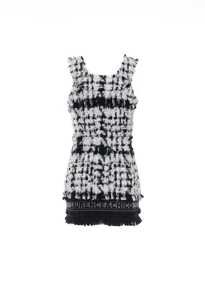 Black and White Tweed Tailored Short Dress