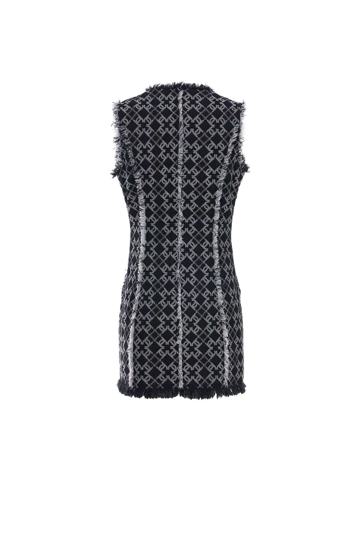LC Logo Denim Jacquard V-Neck Vest Dress