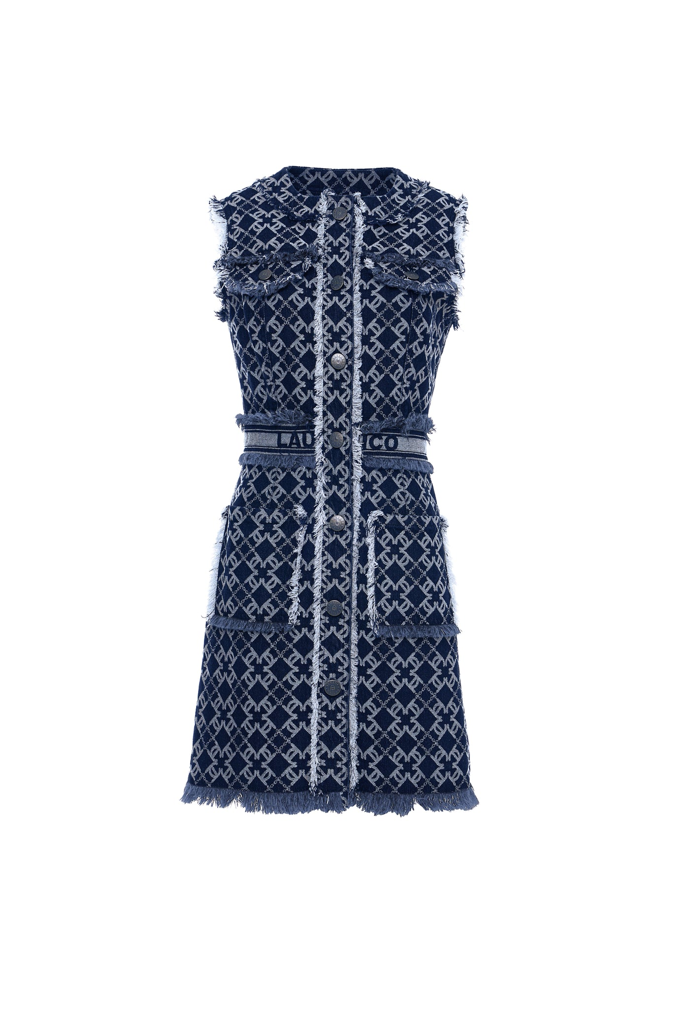 LC Logo Denim Jacquard Sleeveless Vest Dress, Navy