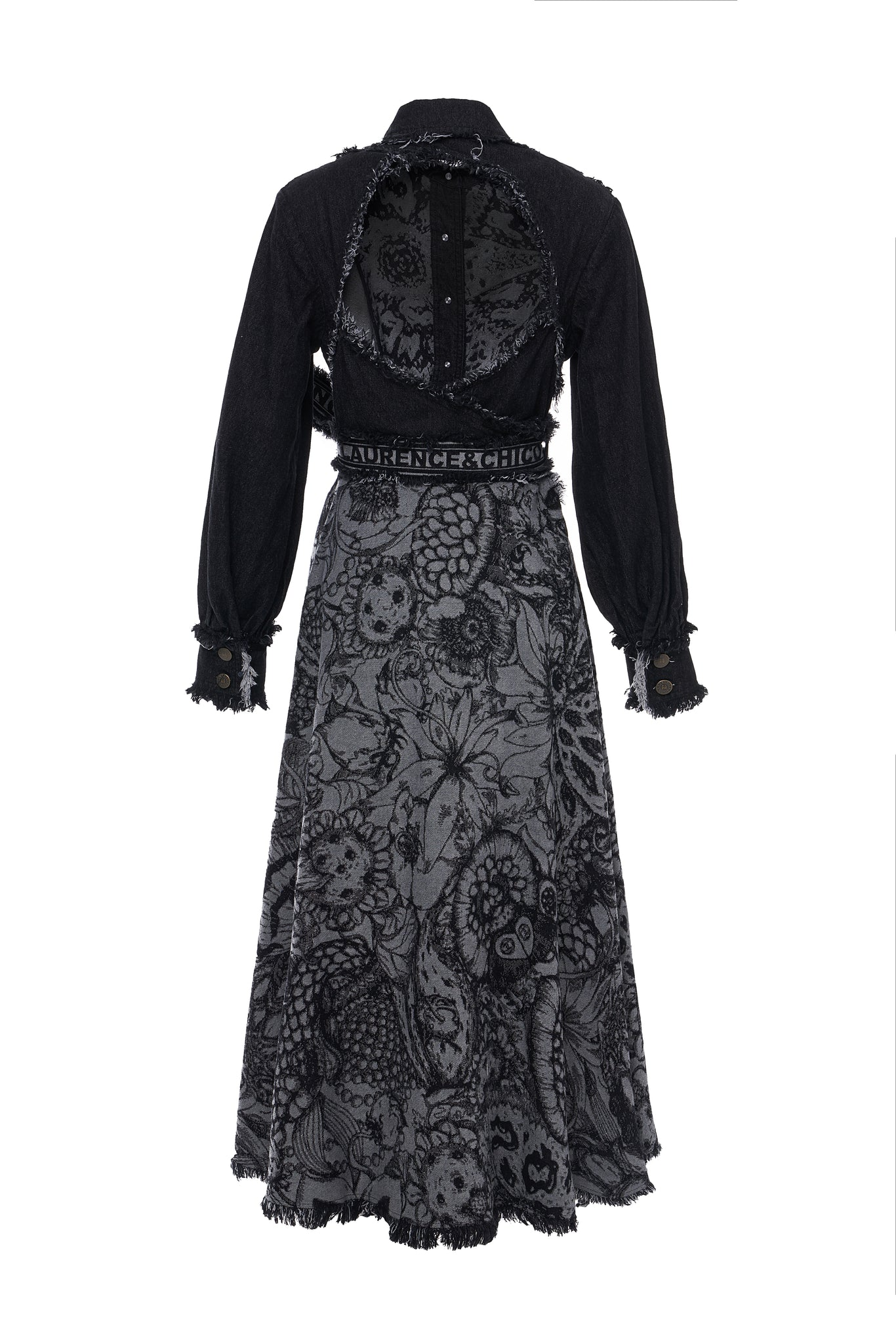 Van Dusen Garden Denim Jacquard Open Back Dress Coat