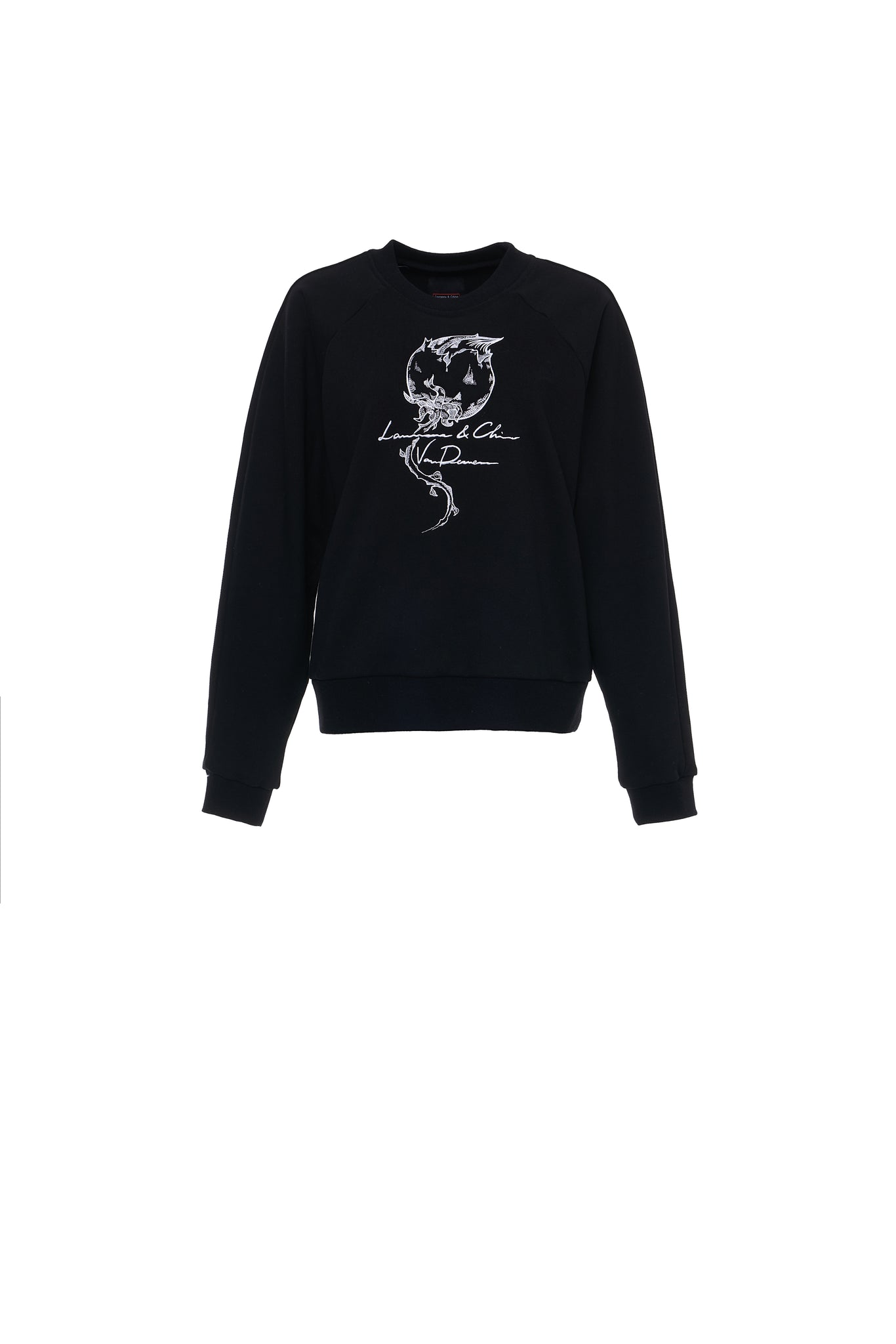 Cotton Flower Embroidery Sweatshirt, Black