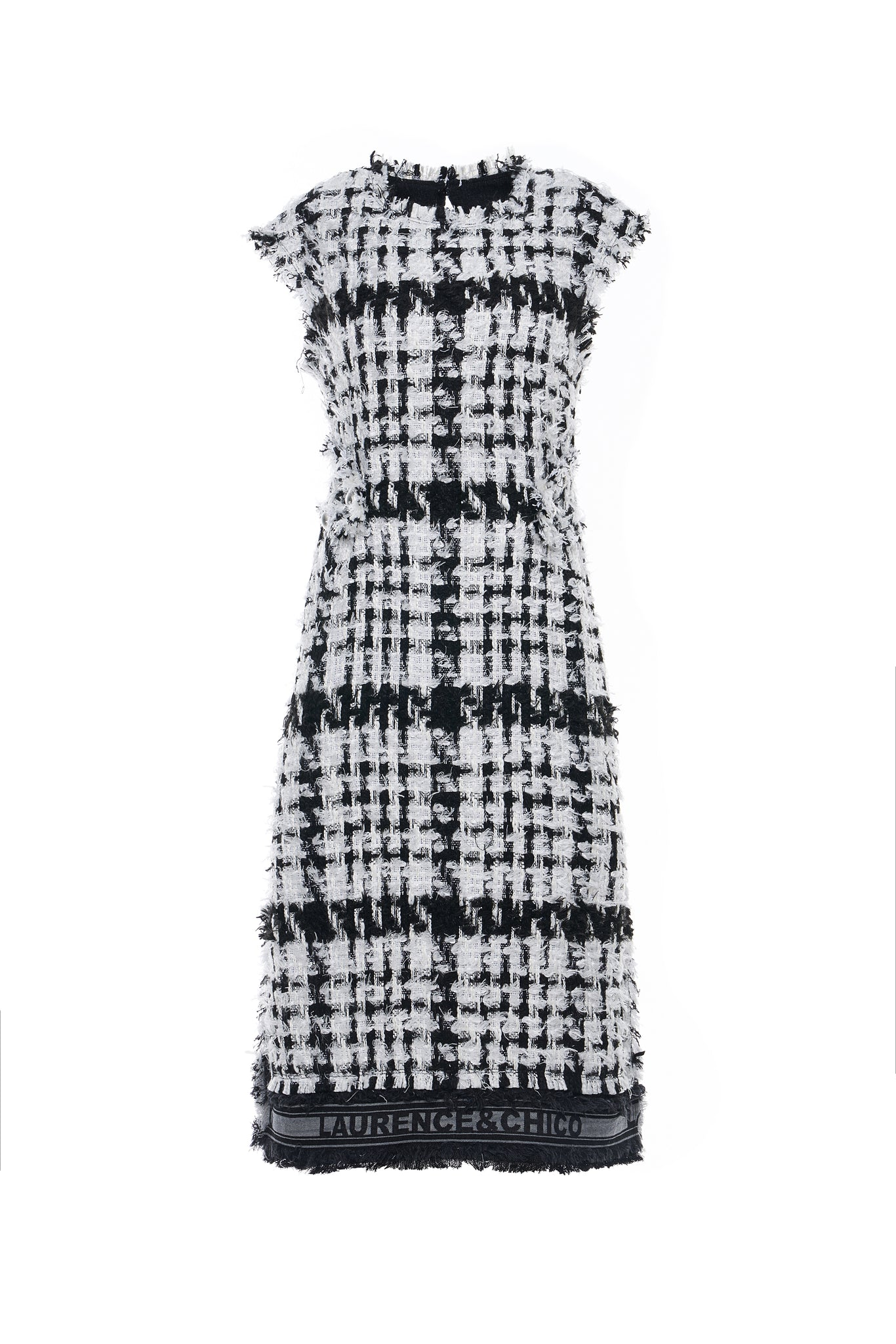 Black and White Tweed Sleeveless Dress
