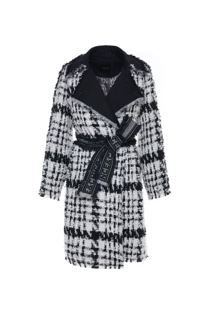 Black and White Tweed Double Breasted Trench