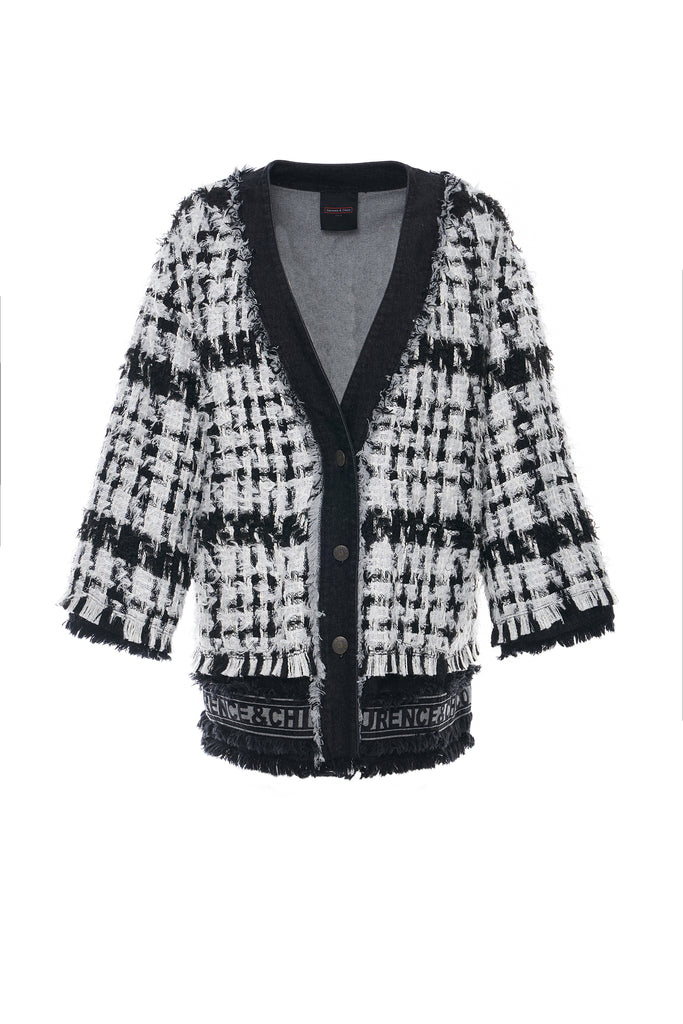 Black and White Tweed Cardigan Jacket