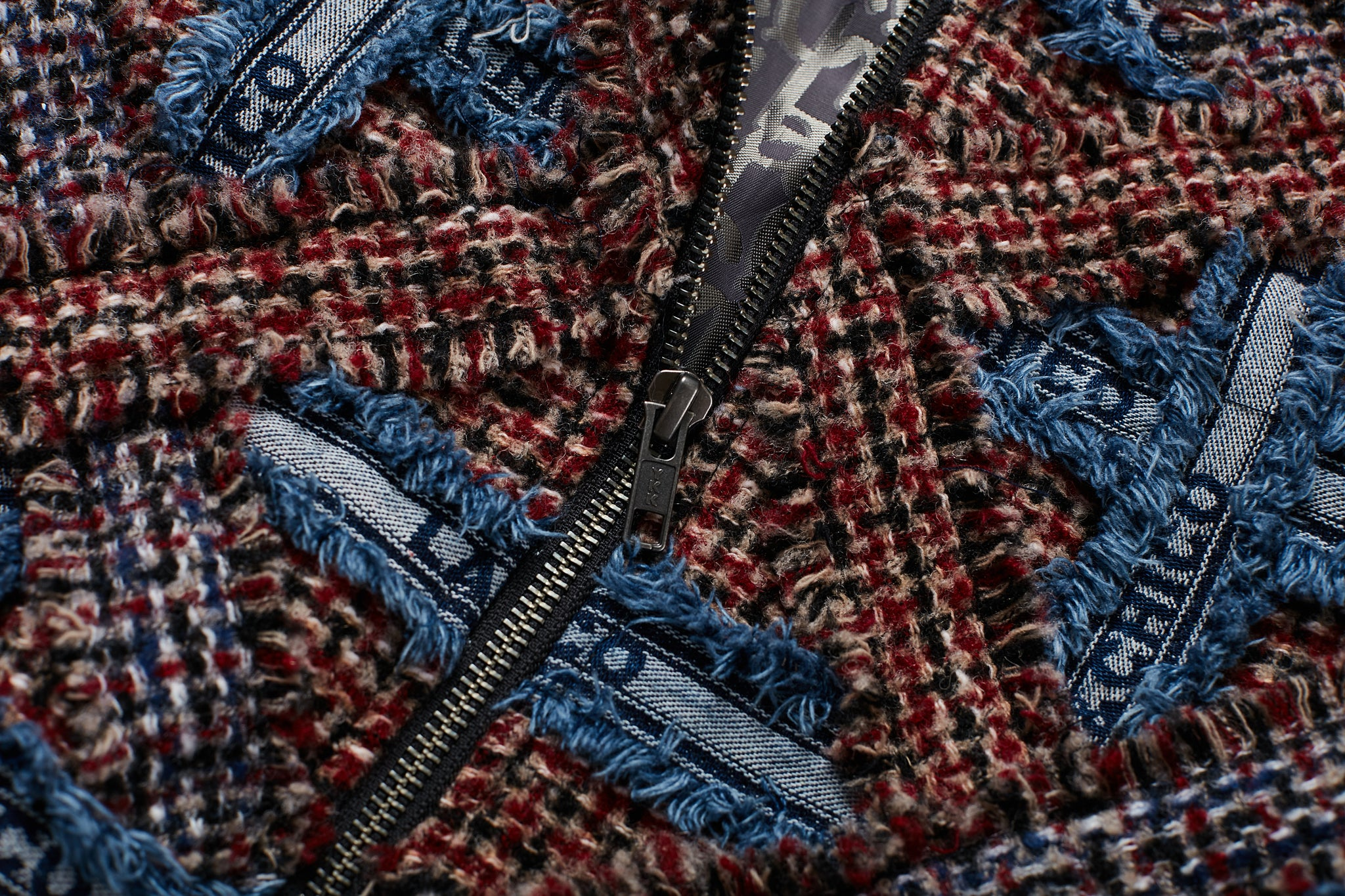 Red and Blue Tweed Bomber