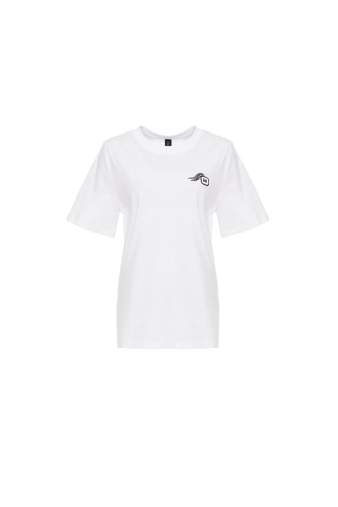 Caterpillar Embroidery Tee, White