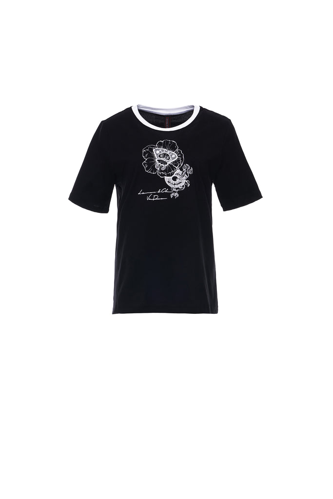 Moth Flower Embroidery Tee, Black