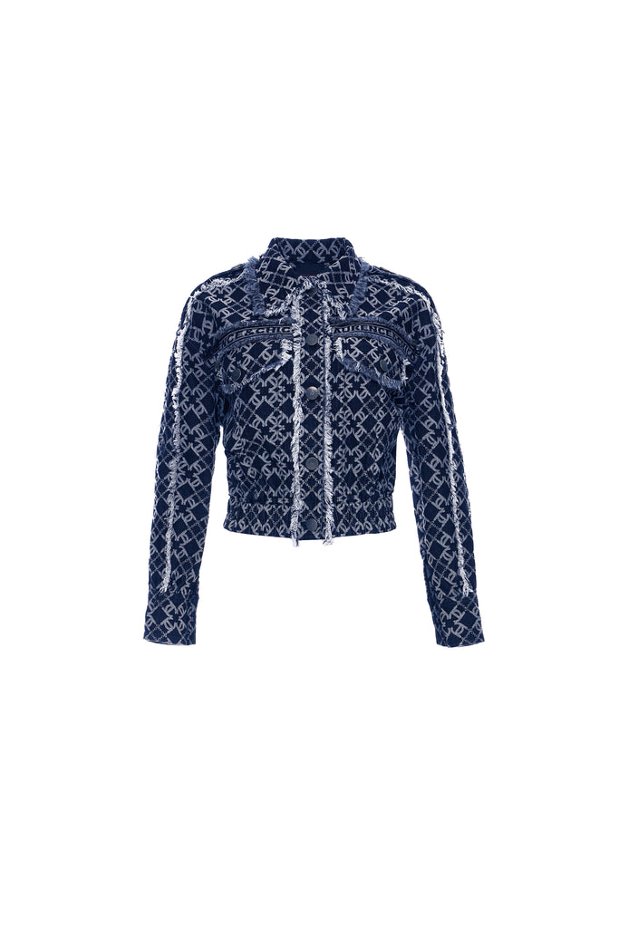 LC Logo Denim Jacquard Cropped Jacket