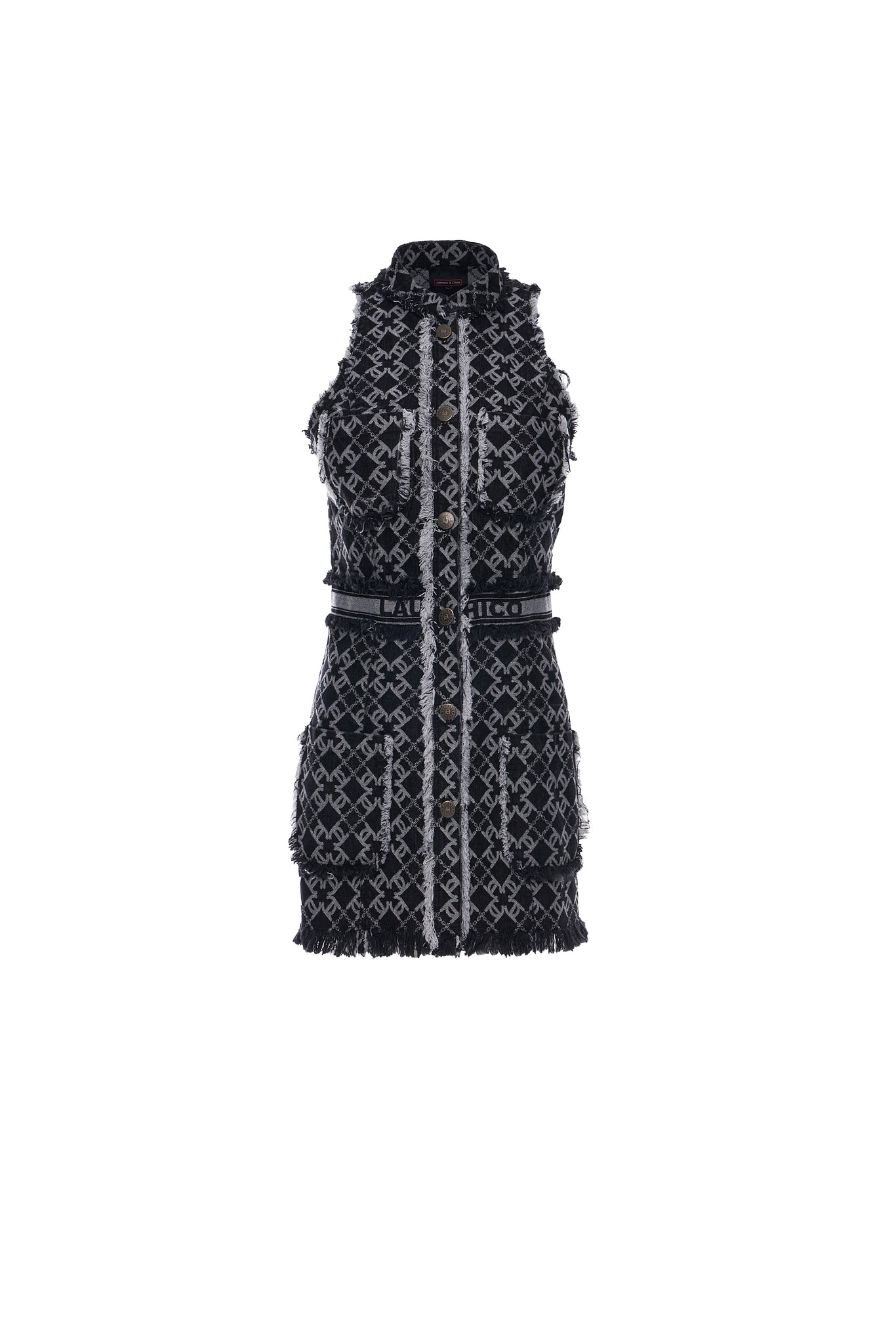 LC Logo Denim Jacquard Vest Dress