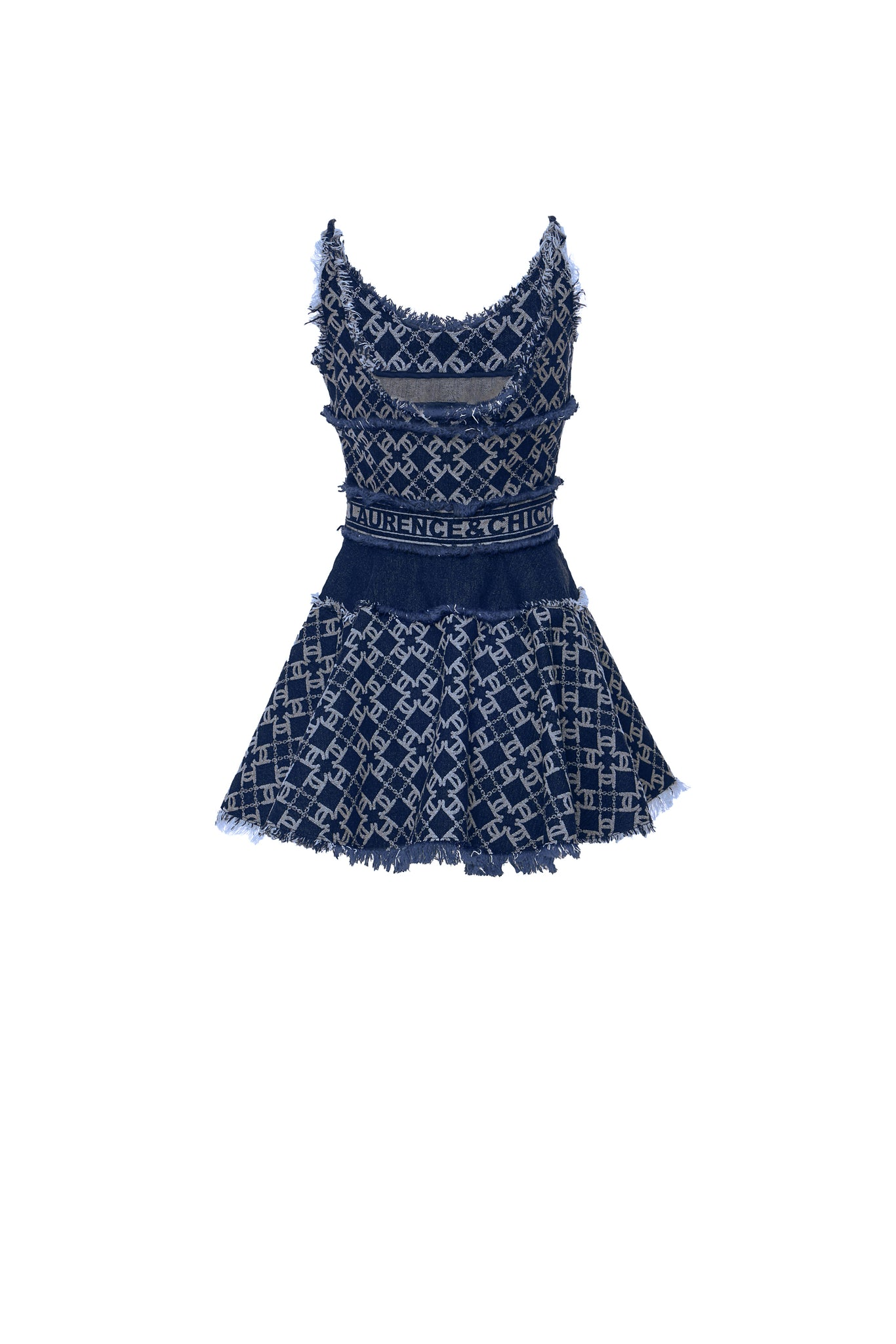 LC Logo Denim Jacquard Tailored Mini Dress, Navy