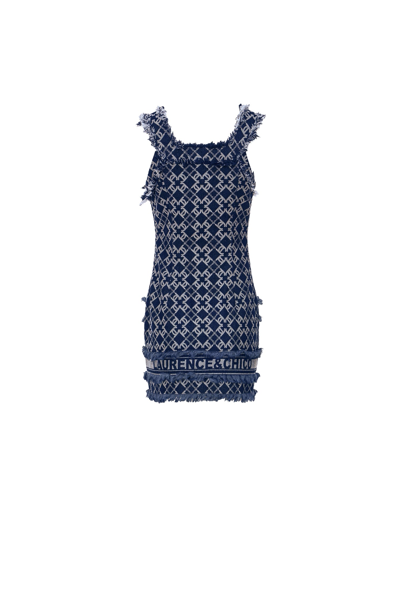 LC Logo Denim Jacquard Tailored Short Dress, Navy