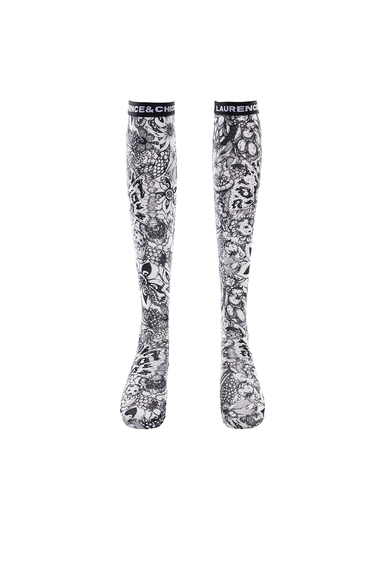 Van Dusen Garden Print Knee-High Socks, Black and White