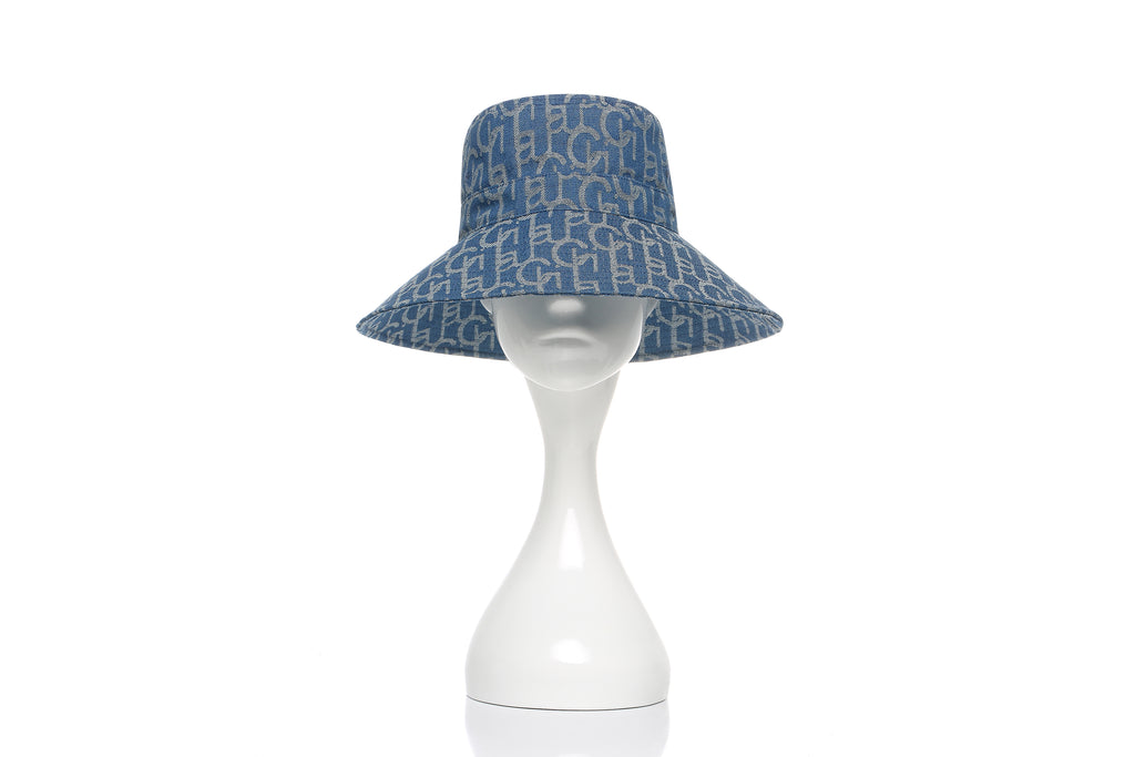 Chichi Laulau Jacquard Bucket Hat, Big Brim, Light Blue