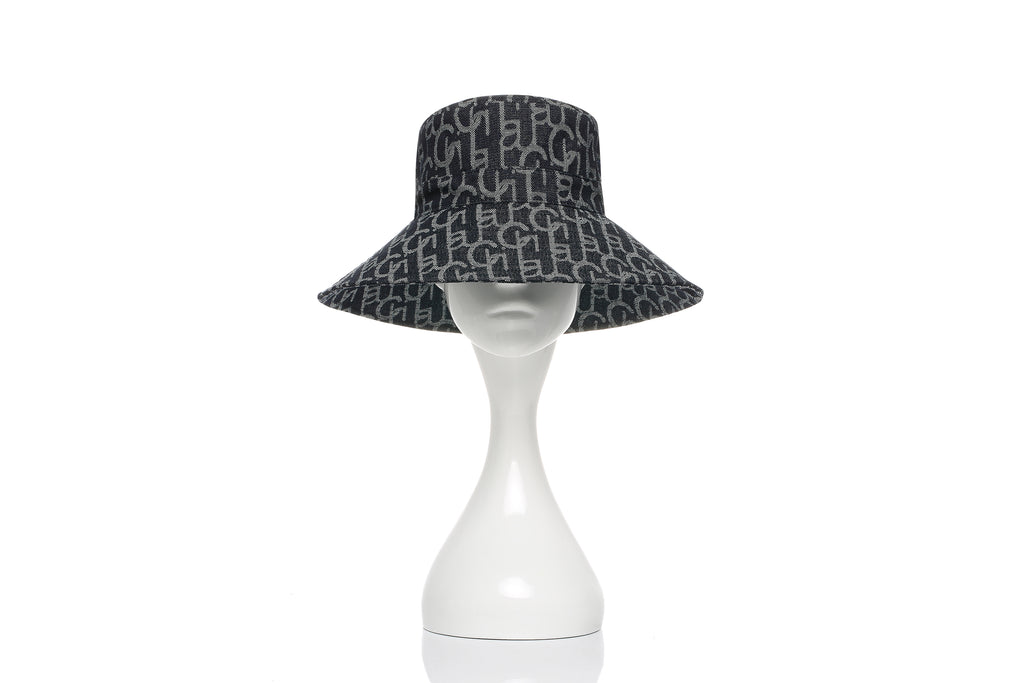 Chichi Laulau Jacquard Bucket Hat, Big Brim, Navy