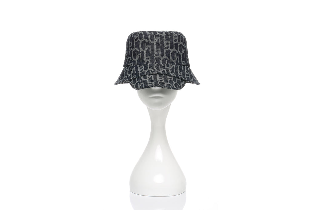 Chichi Laulau Jacquard Bucket Hat with Brim, Small Brim, Navy