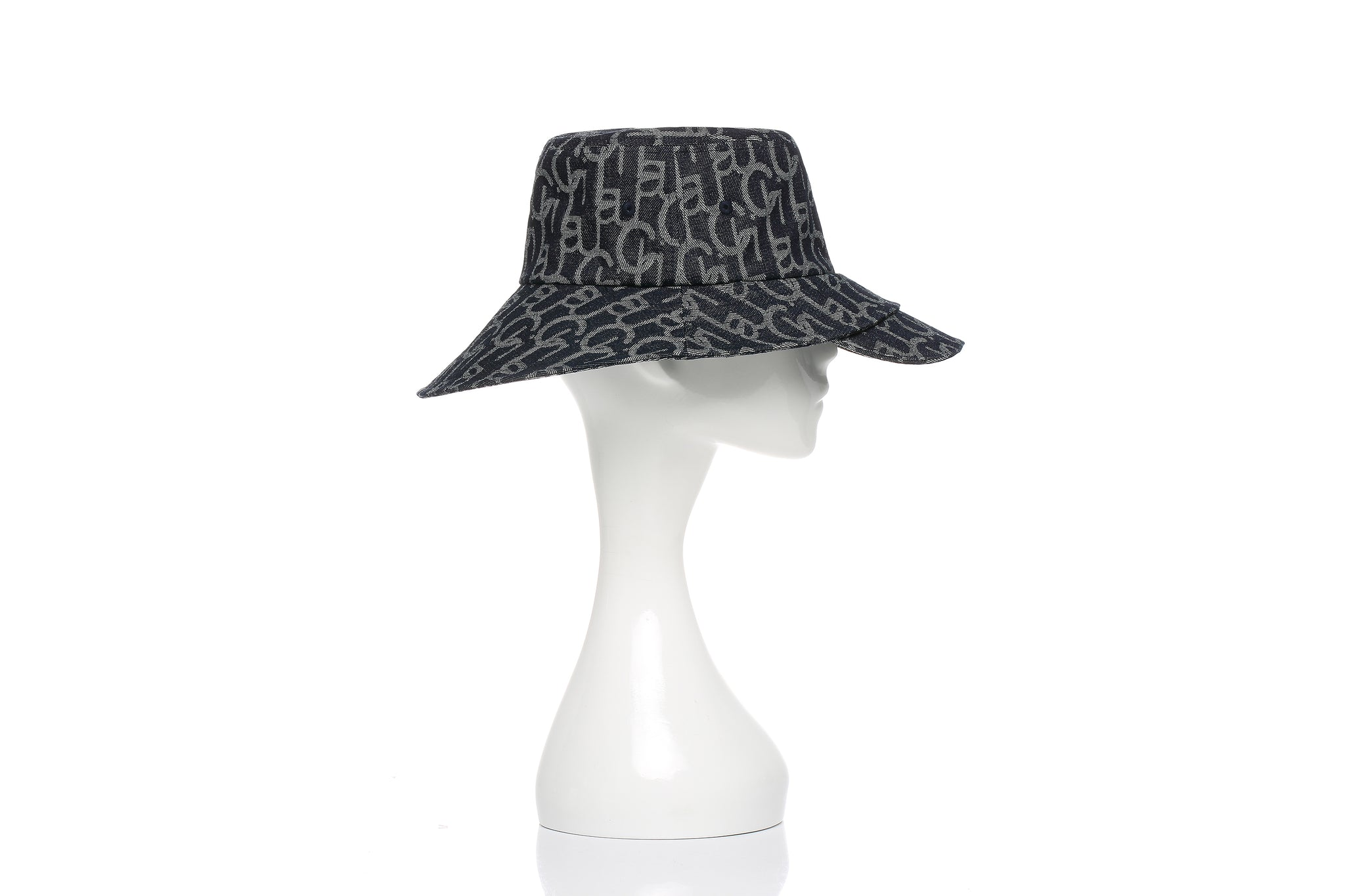 Chichi Laulau Jacquard Bucket Hat with Brim, Big Brim, Dark Blue
