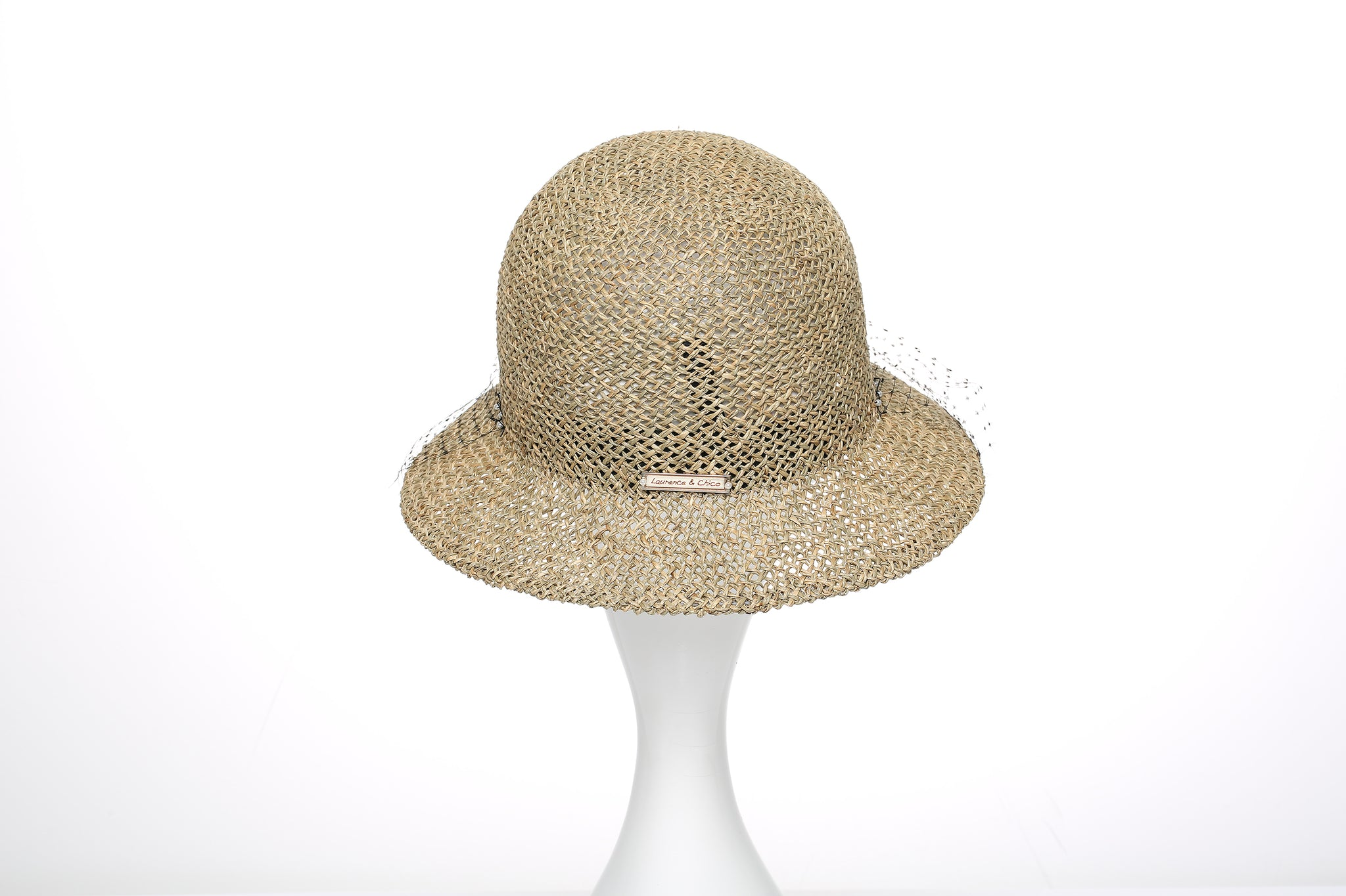Brown Straw Hat with Face Veil