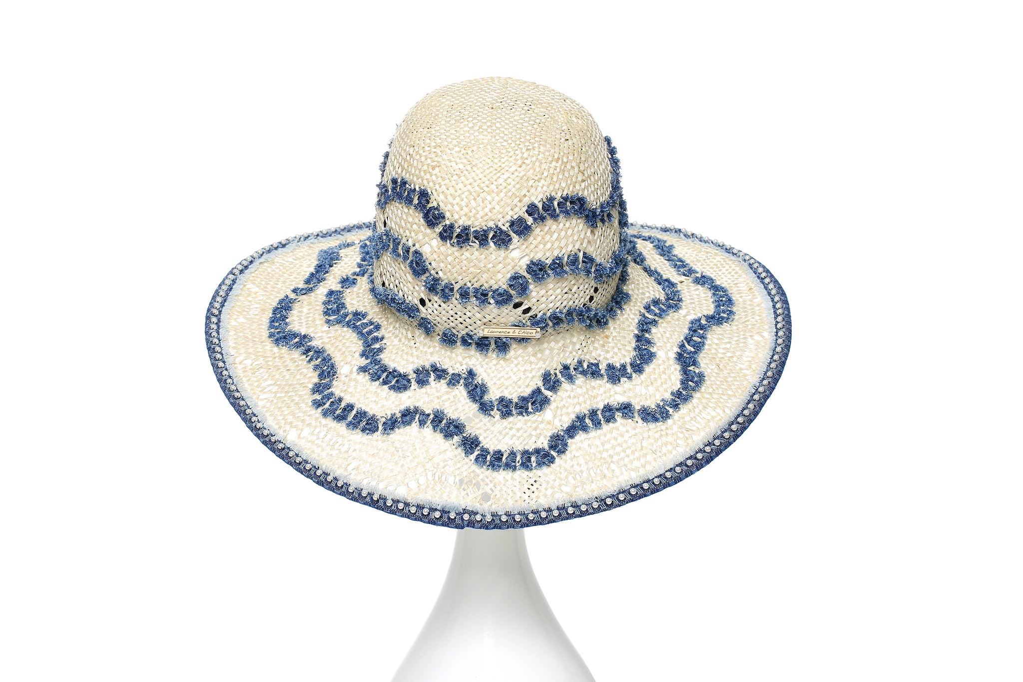 Hand Woven Denim Straw Hat, White