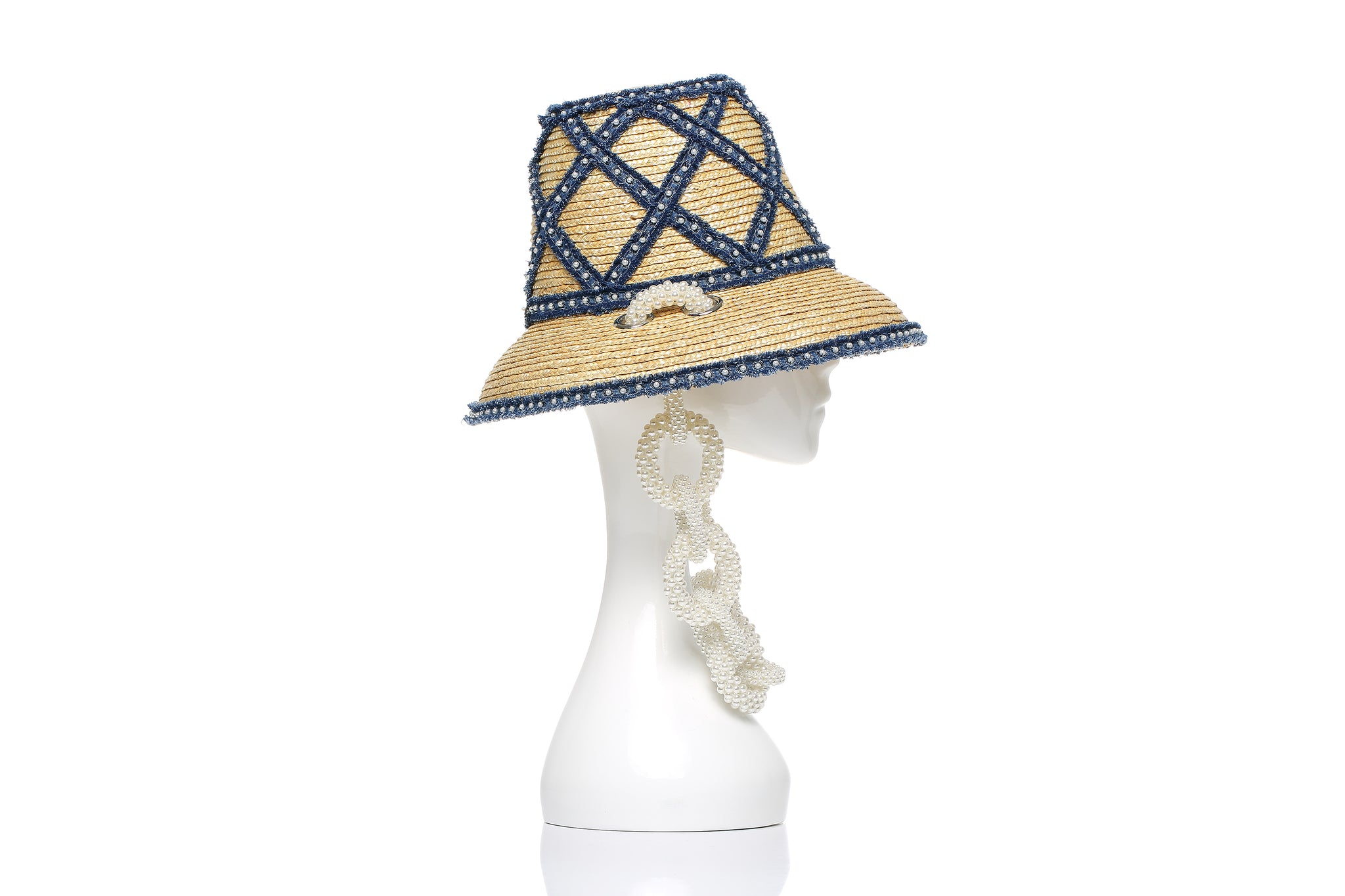 Runway Hand Woven Denim Straw Bucket Hat, Pearl Chain, Small Brim