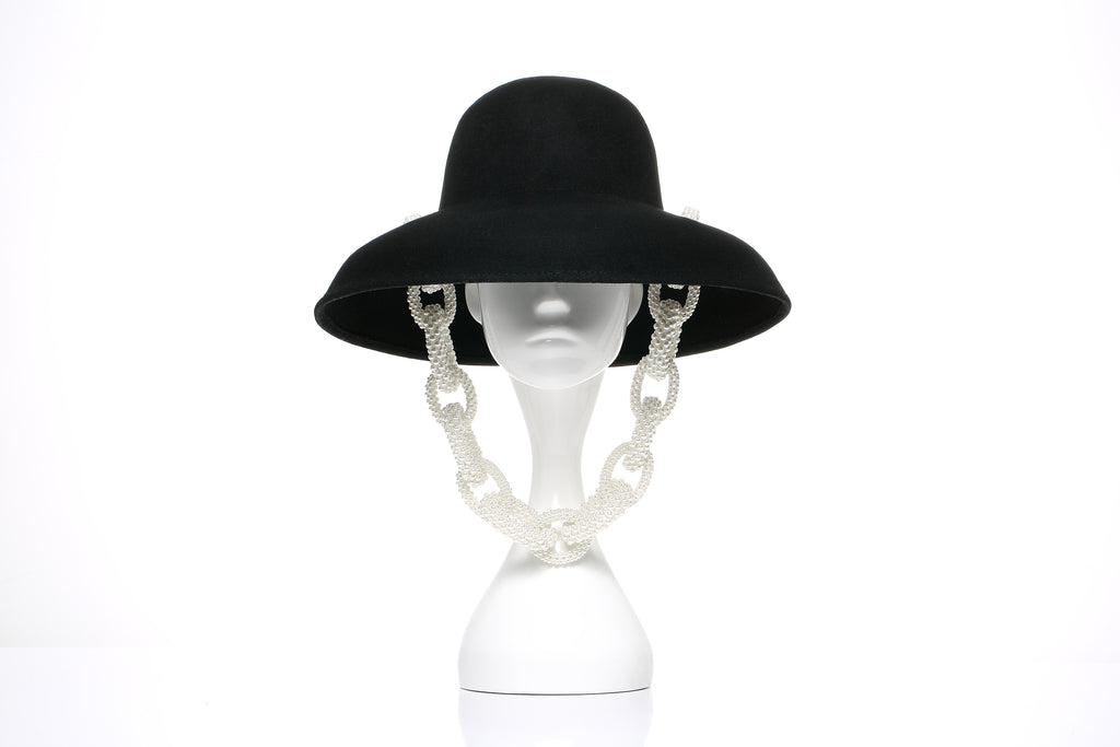 Runway Wool Hat, Pearl Chain