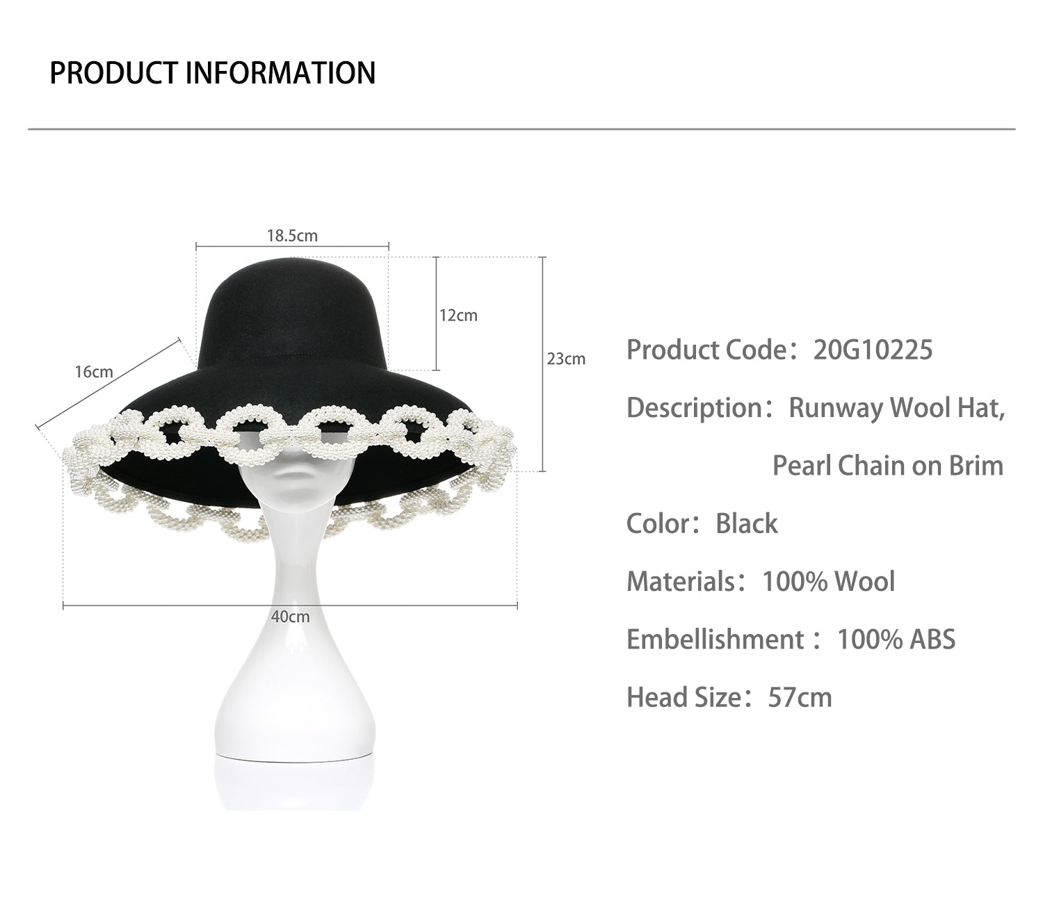 Runway Wool Hat, Pearl Chain on Brim