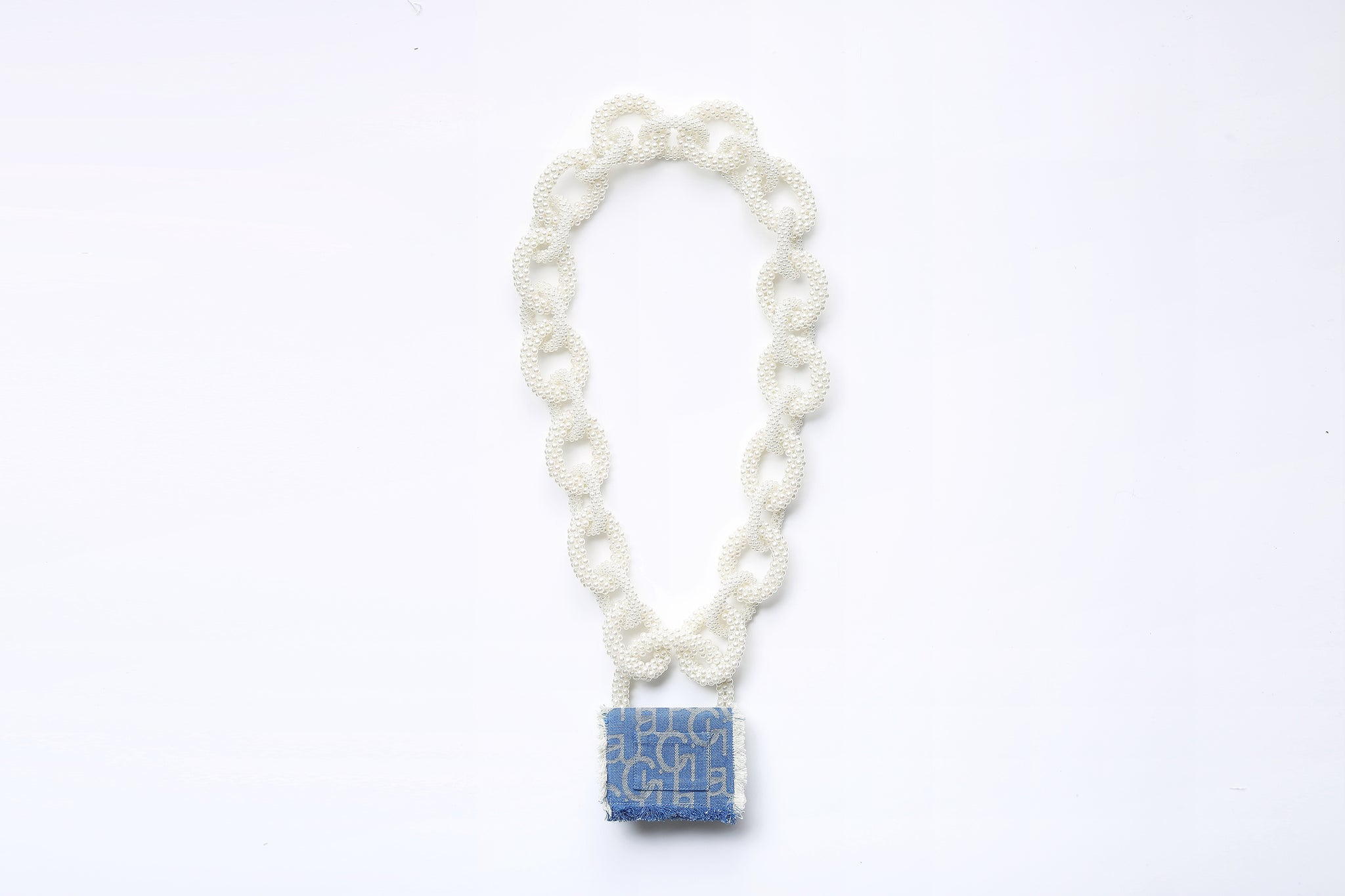 Laulau Chichi Jacquard Bag, Mini Rectangle, Pearl Chain, Light Blue