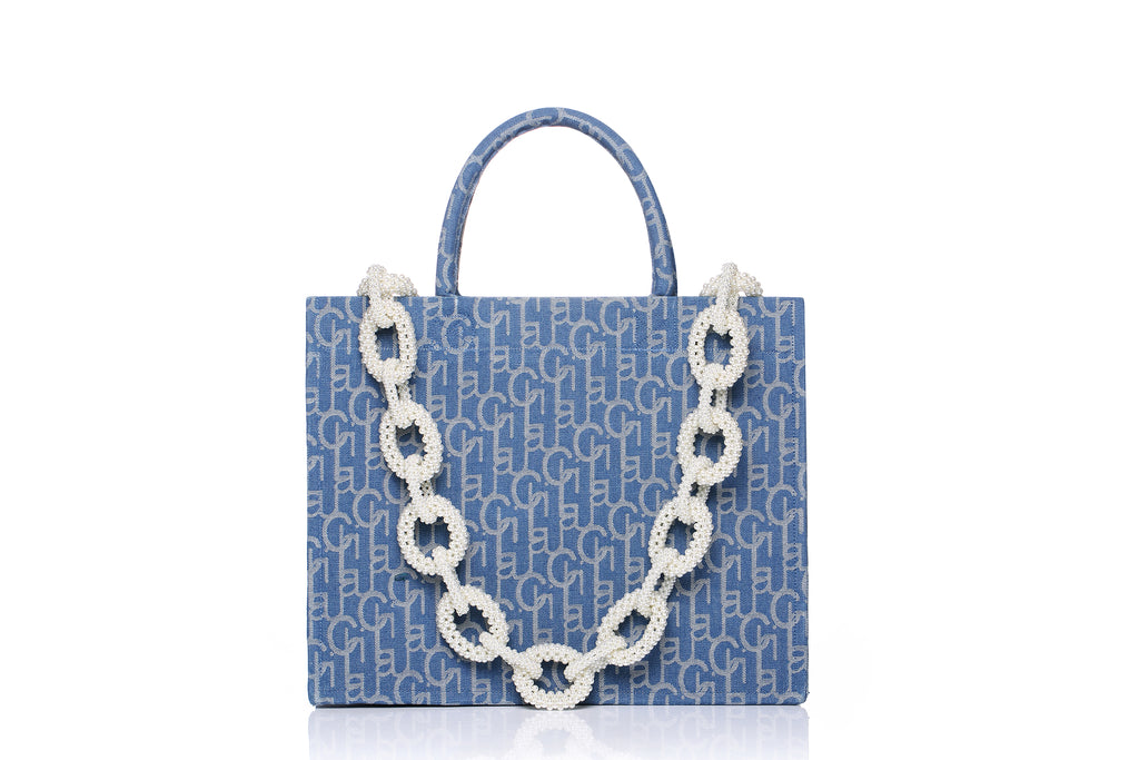 Laulau Chichi Jacquard Bag, Small Tote, Pearl Chain, Light Blue