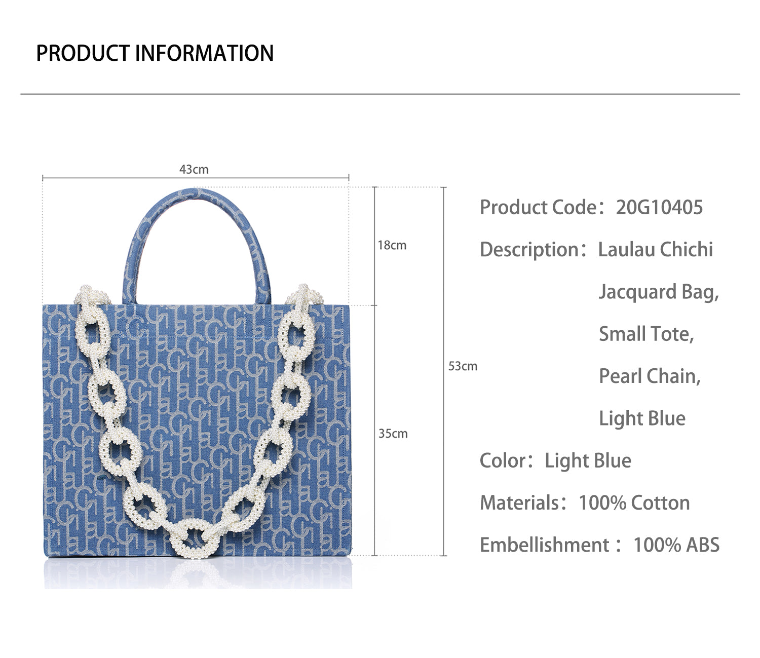 Laulau Chichi Jacquard Bag, Large Tote, Pearl Chain, Light Blue