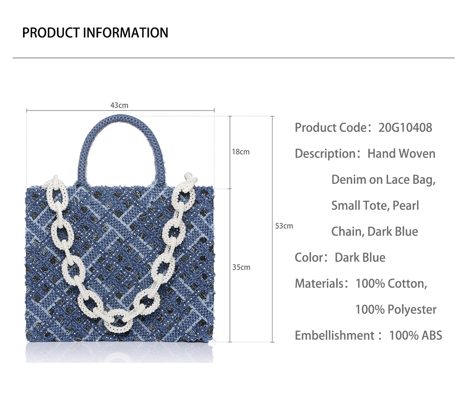 Handwoven Denim on Lace Bag, Small Tote, Pearl Chain, Dark Blue