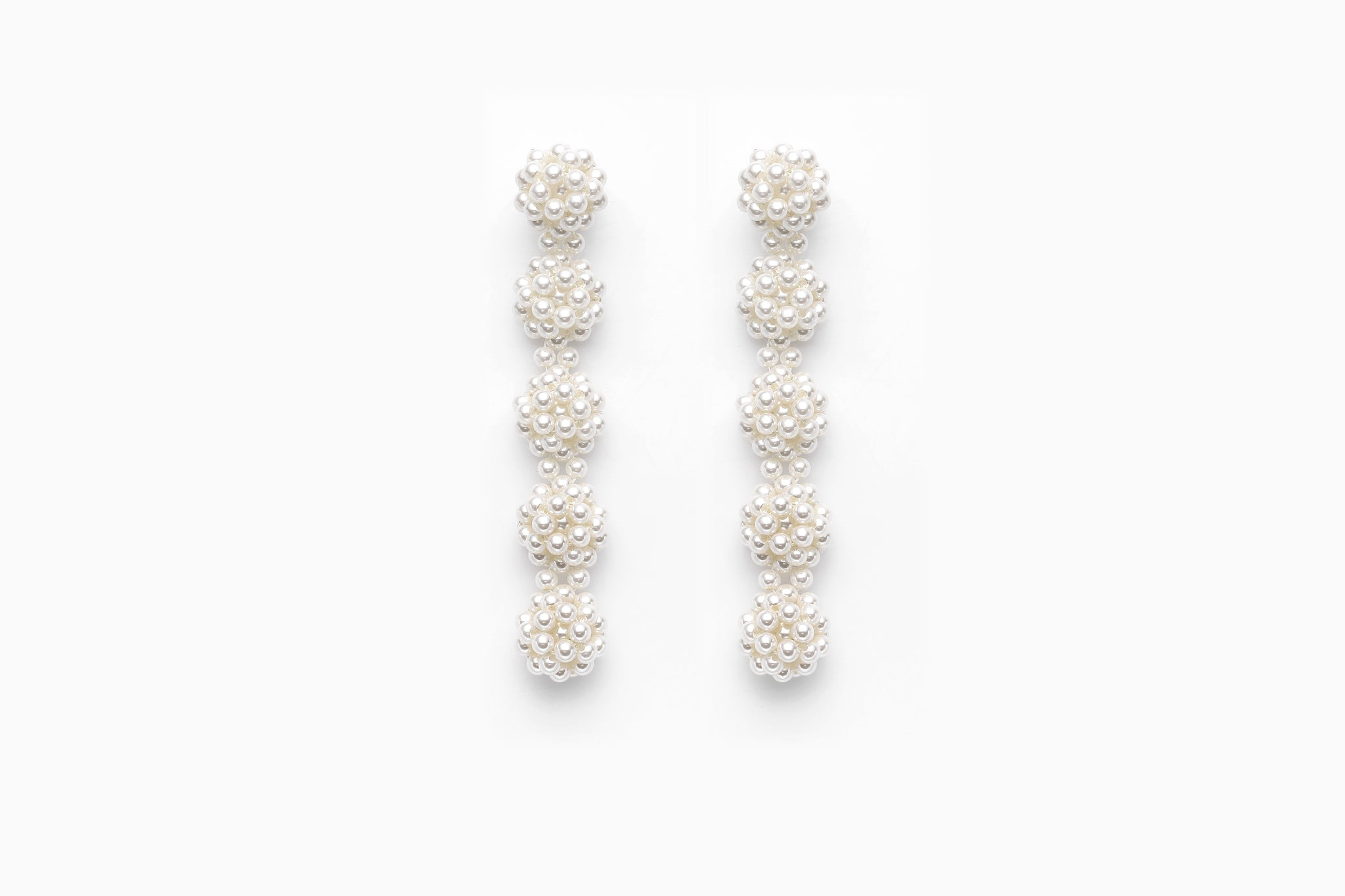 Pearl Drop Spheres Earclips