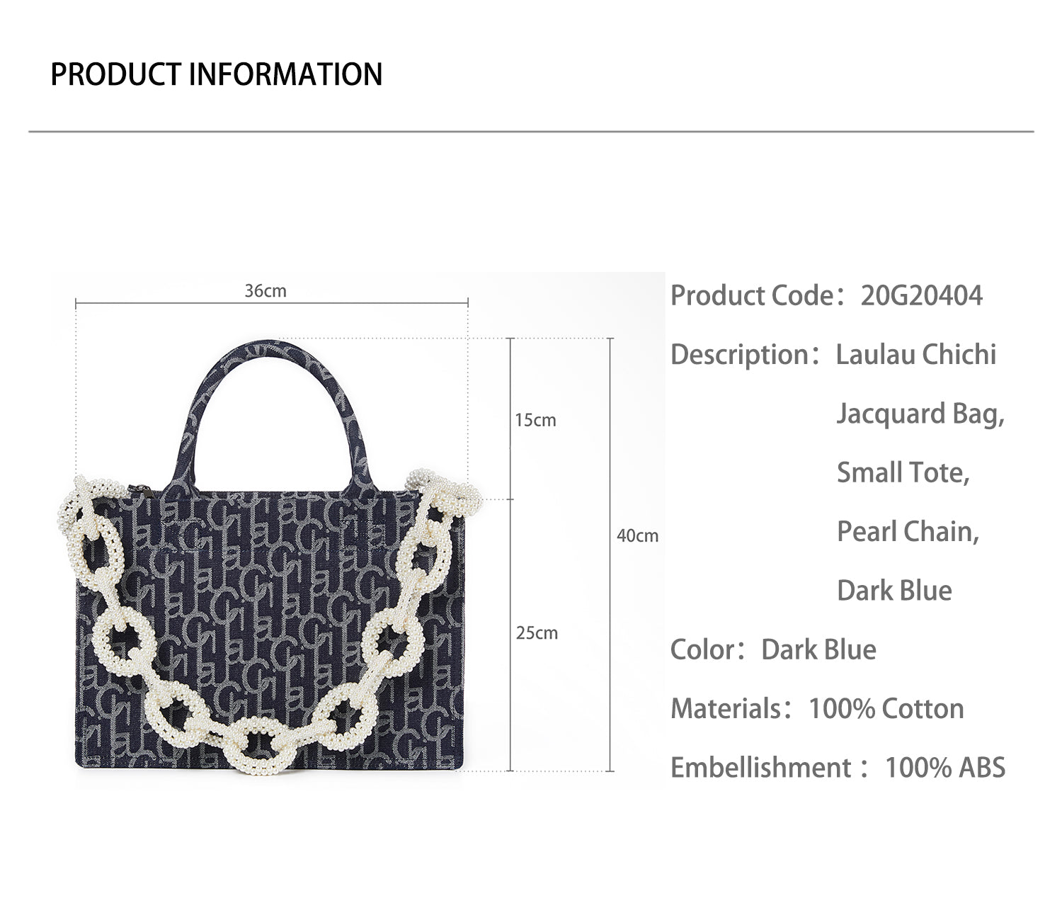 Laulau Chichi Jacquard Bag, Small Tote, Pearl Chain, Dark Blue