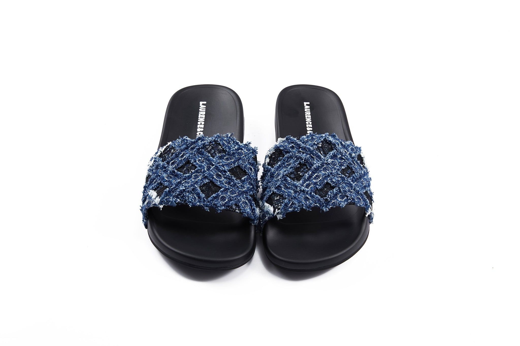 Handwoven Denim Lace Reezy Sandals, Dark Blue
