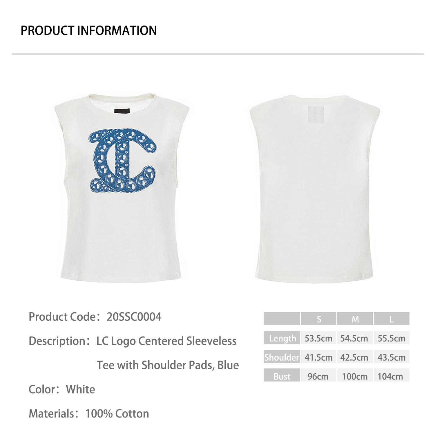 LC Logo Centered Sleeveless Tee with Shoulder Pads, Blue