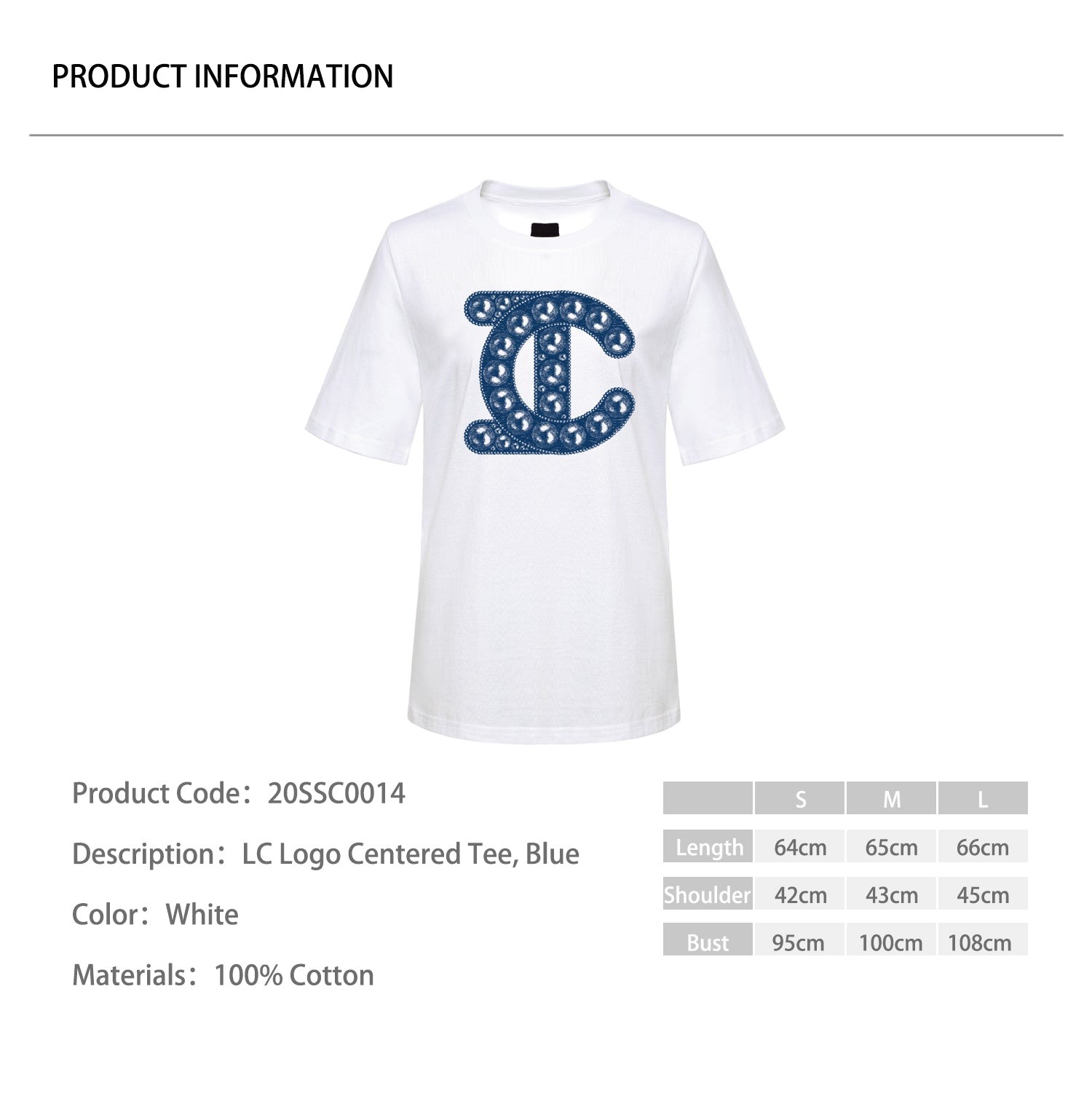 LC Logo Centered Tee, Blue