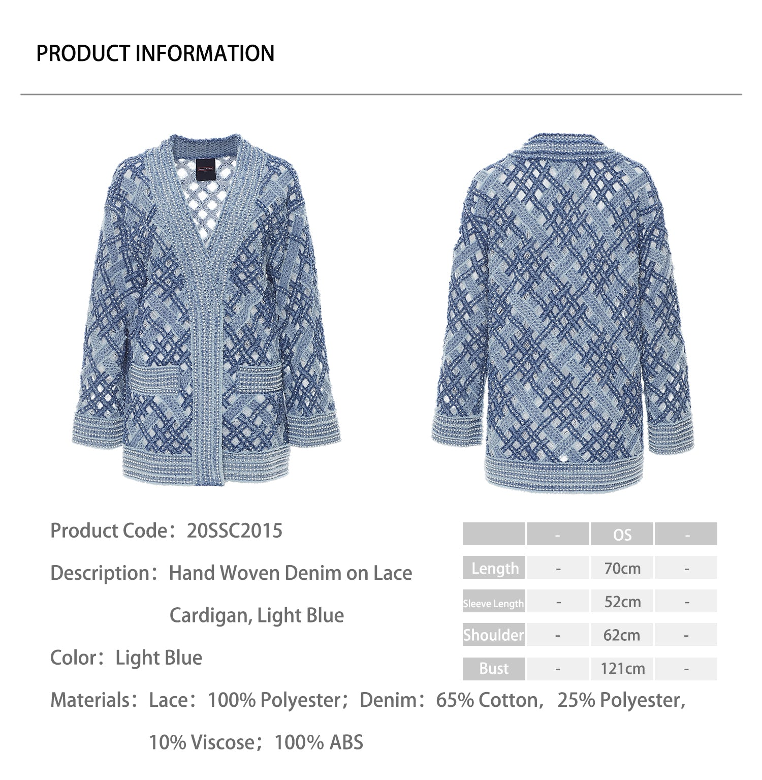 Hand Woven Denim on Lace Cardigan, Light Blue