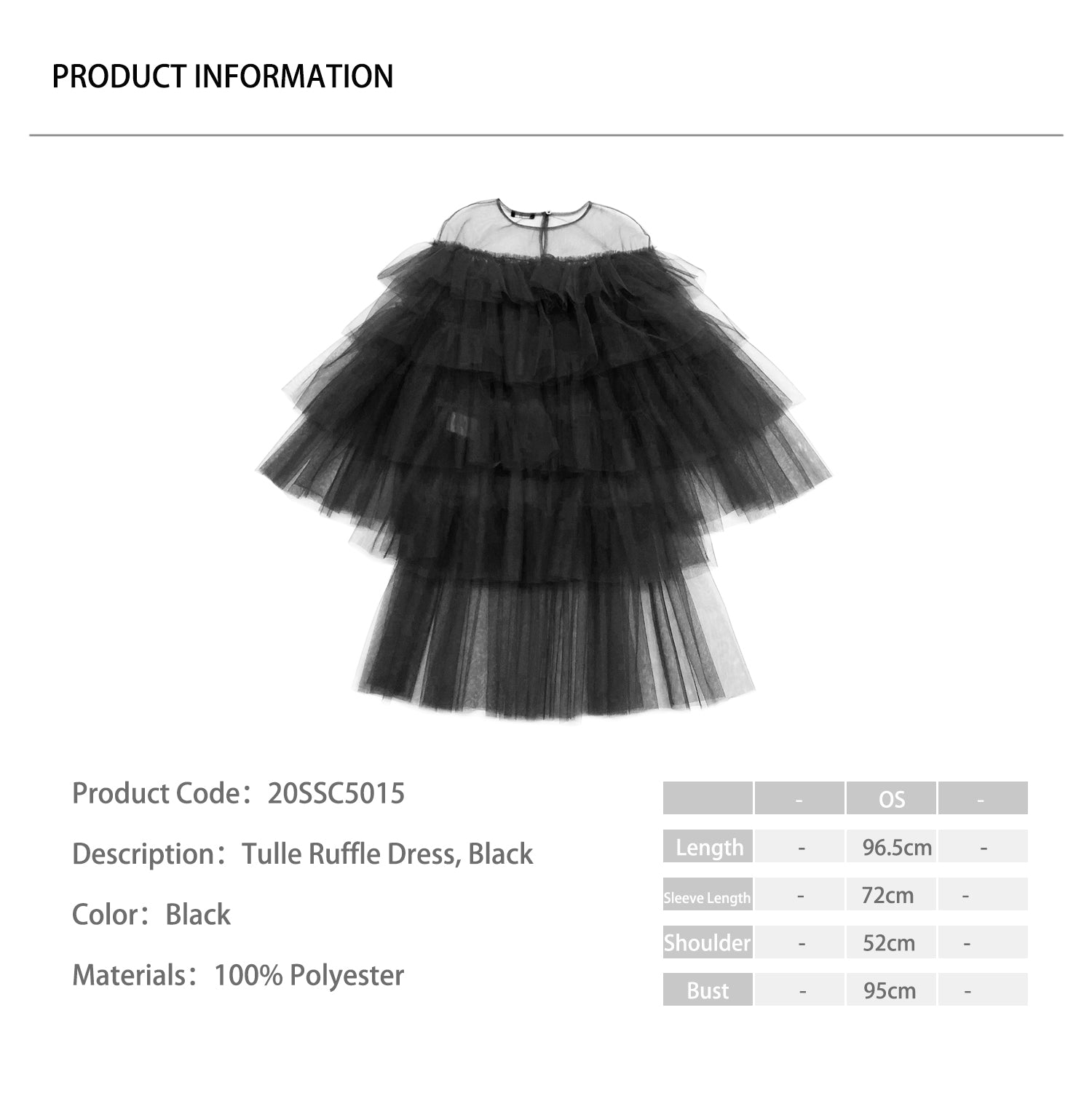 Tulle Ruffle Dress, Black