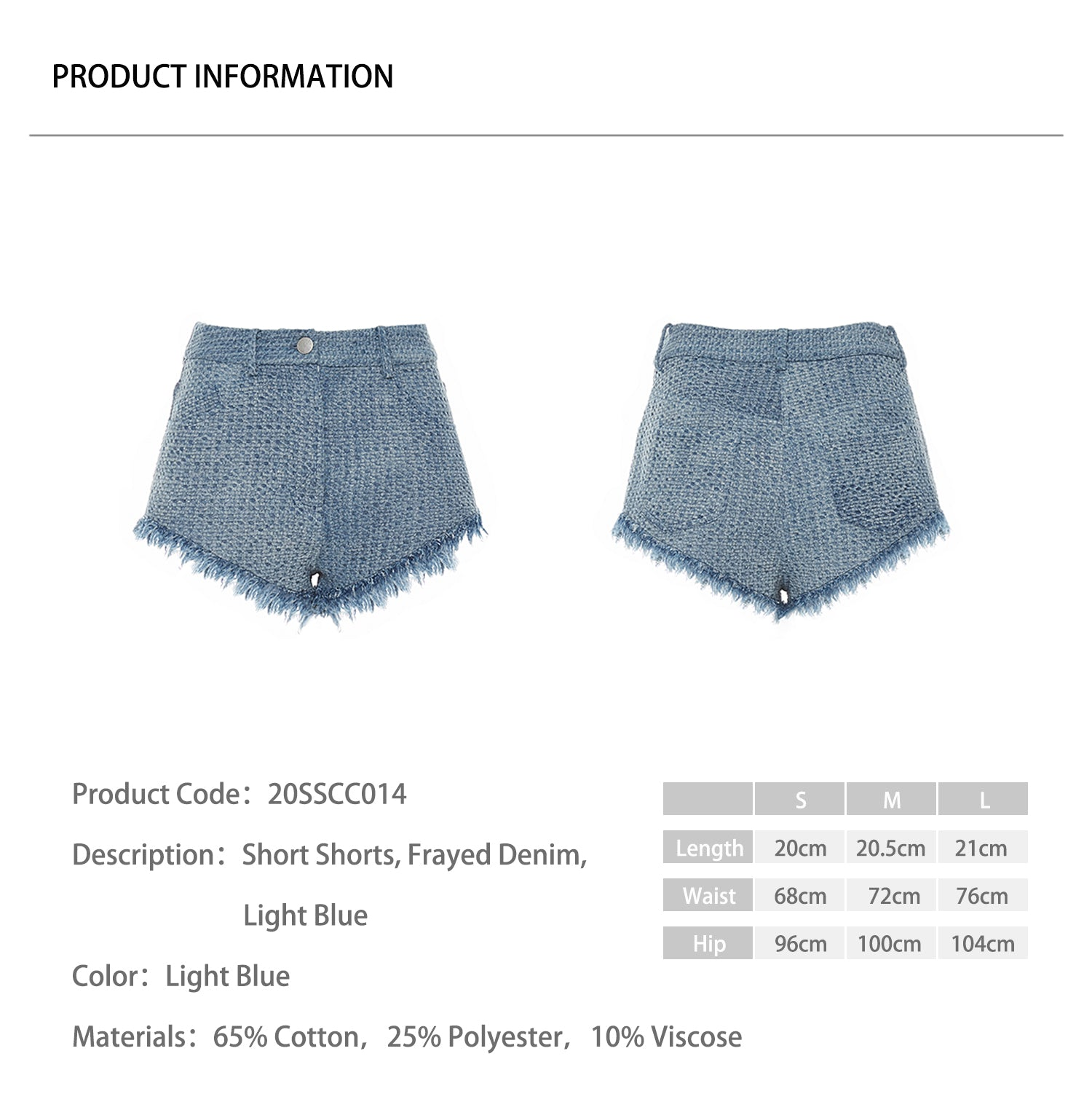 Short Shorts, Frayed Denim, Light Blue