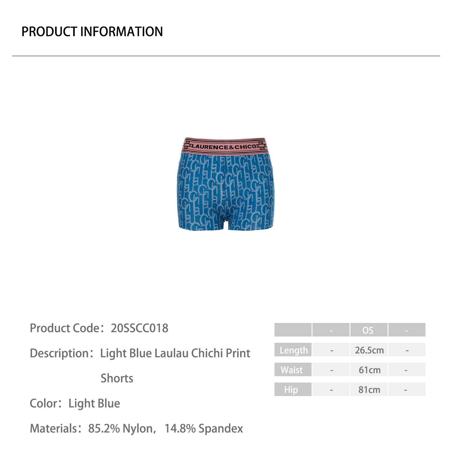 Light Blue Laulau Chichi Print Shorts