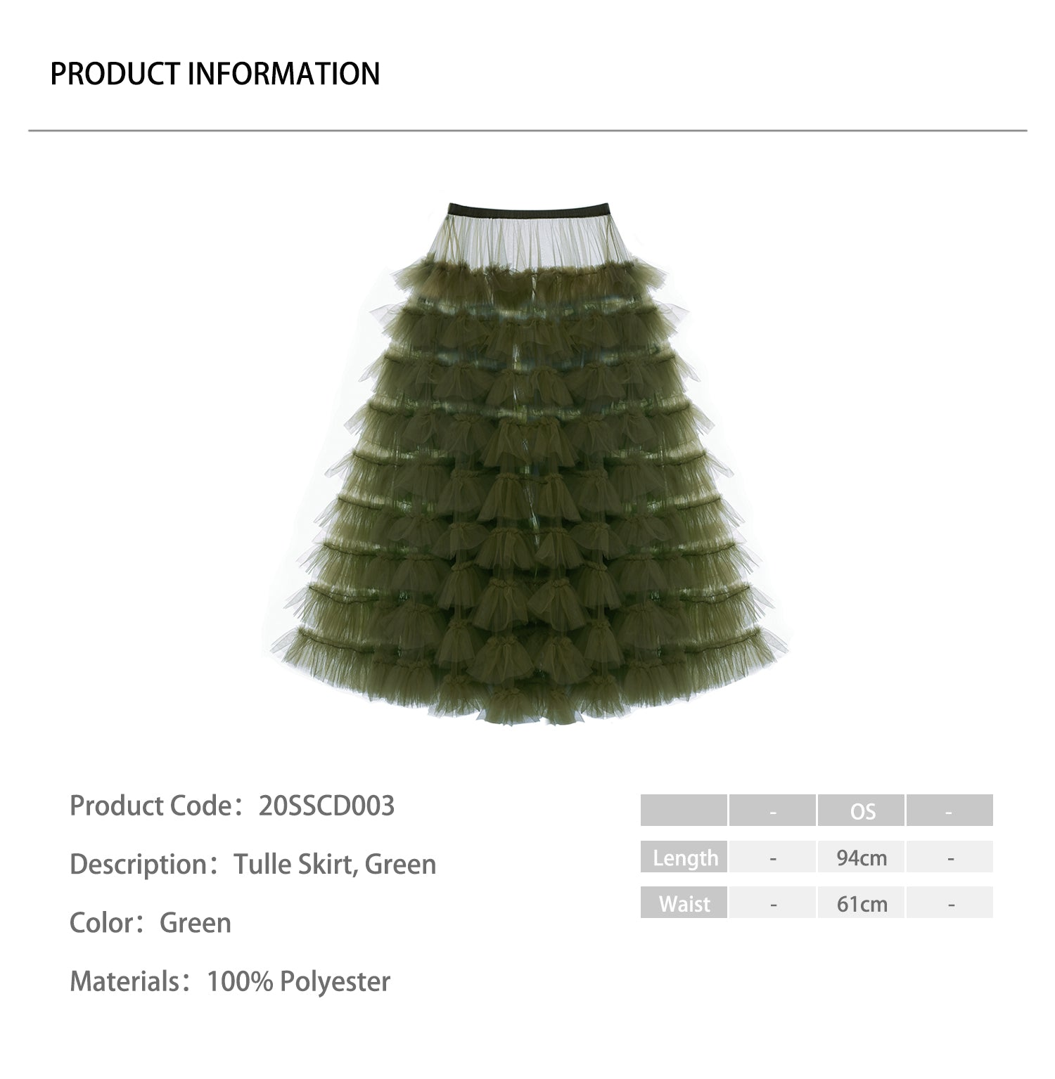 Tulle Skirt, Green