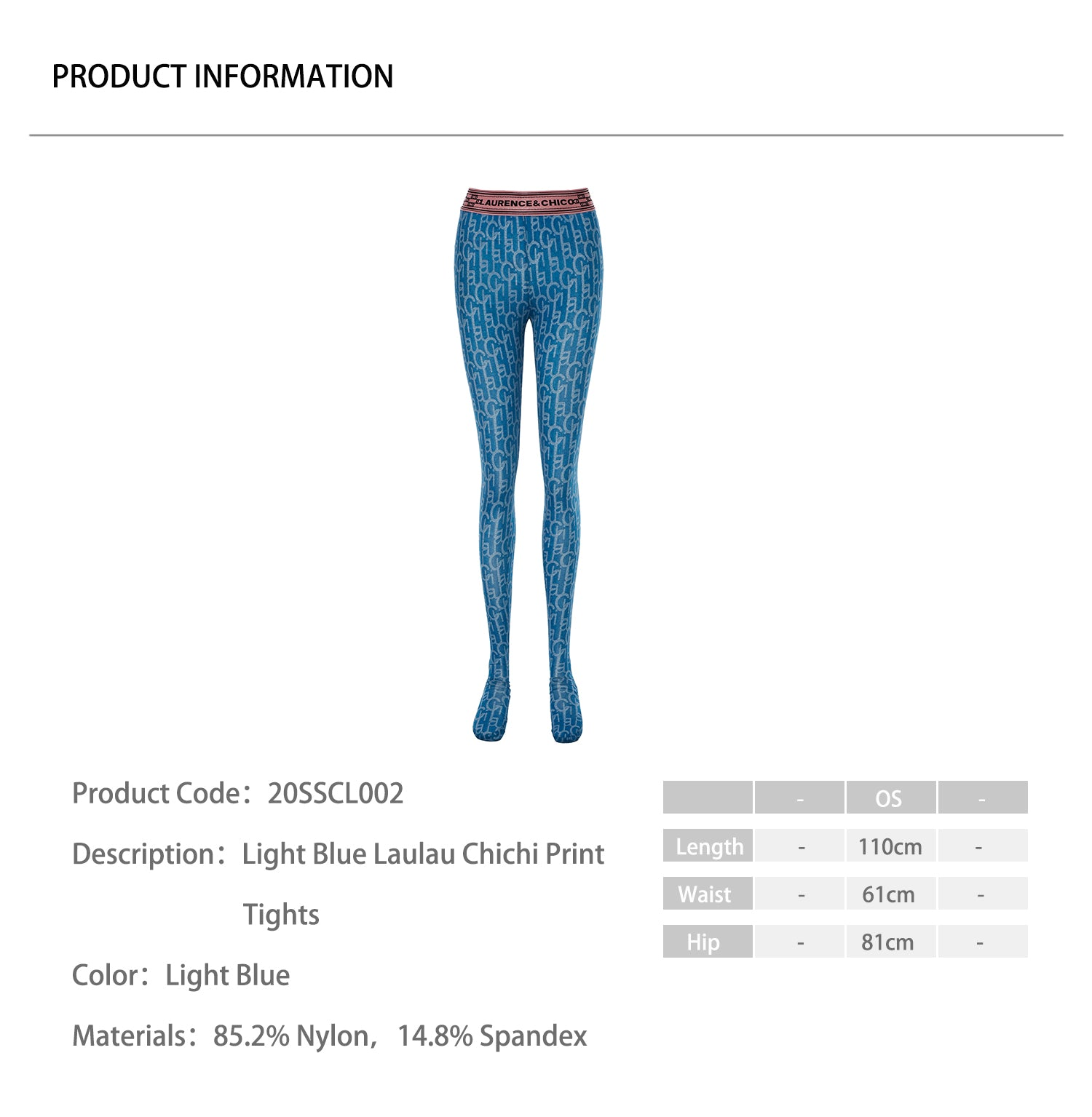 Light Blue Laulau Chichi Print Tights