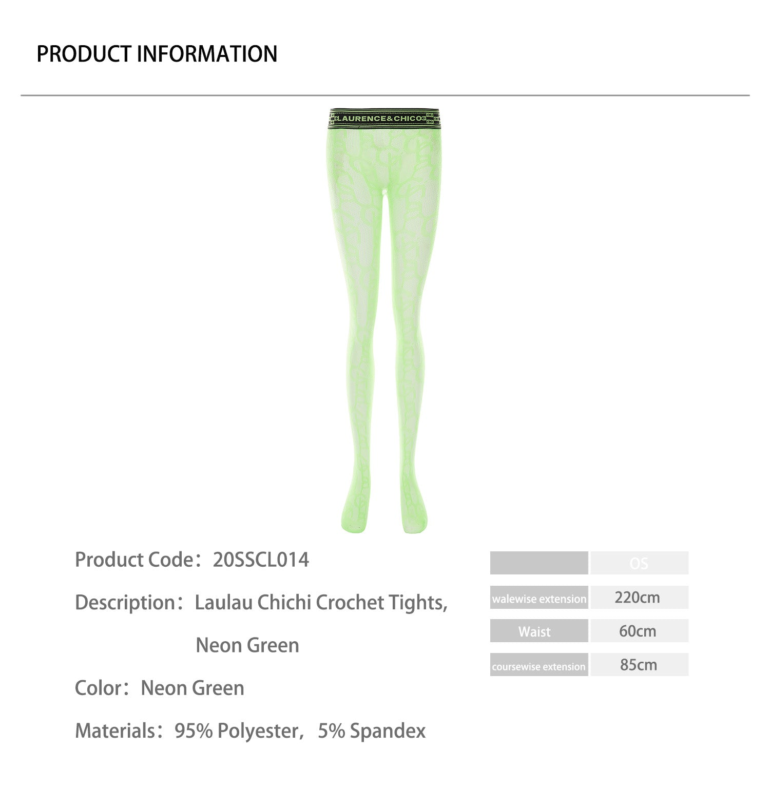 Laulau Chichi Crochet Tights, Neon Green