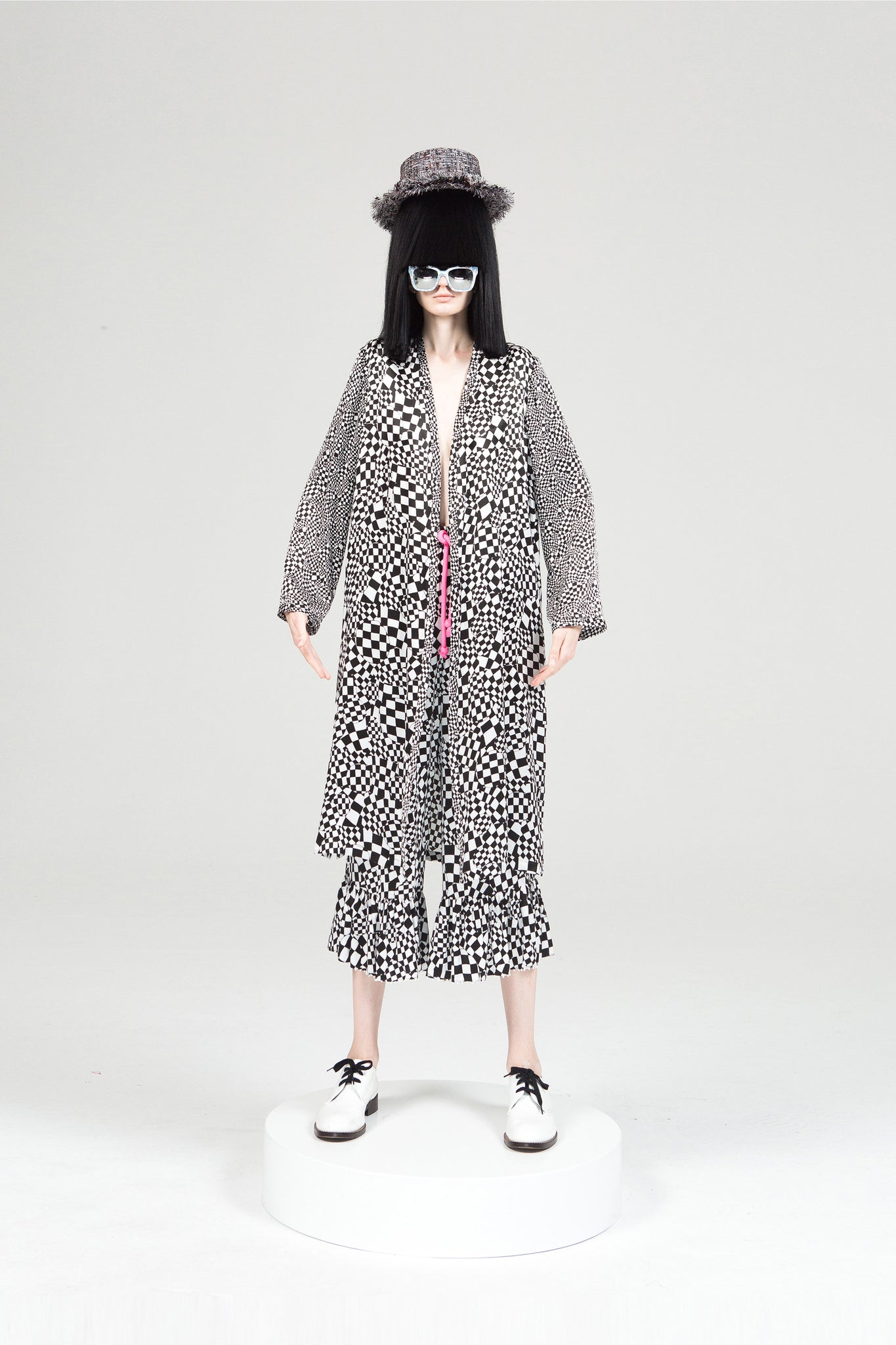 Black and White Checkered Silk Robe