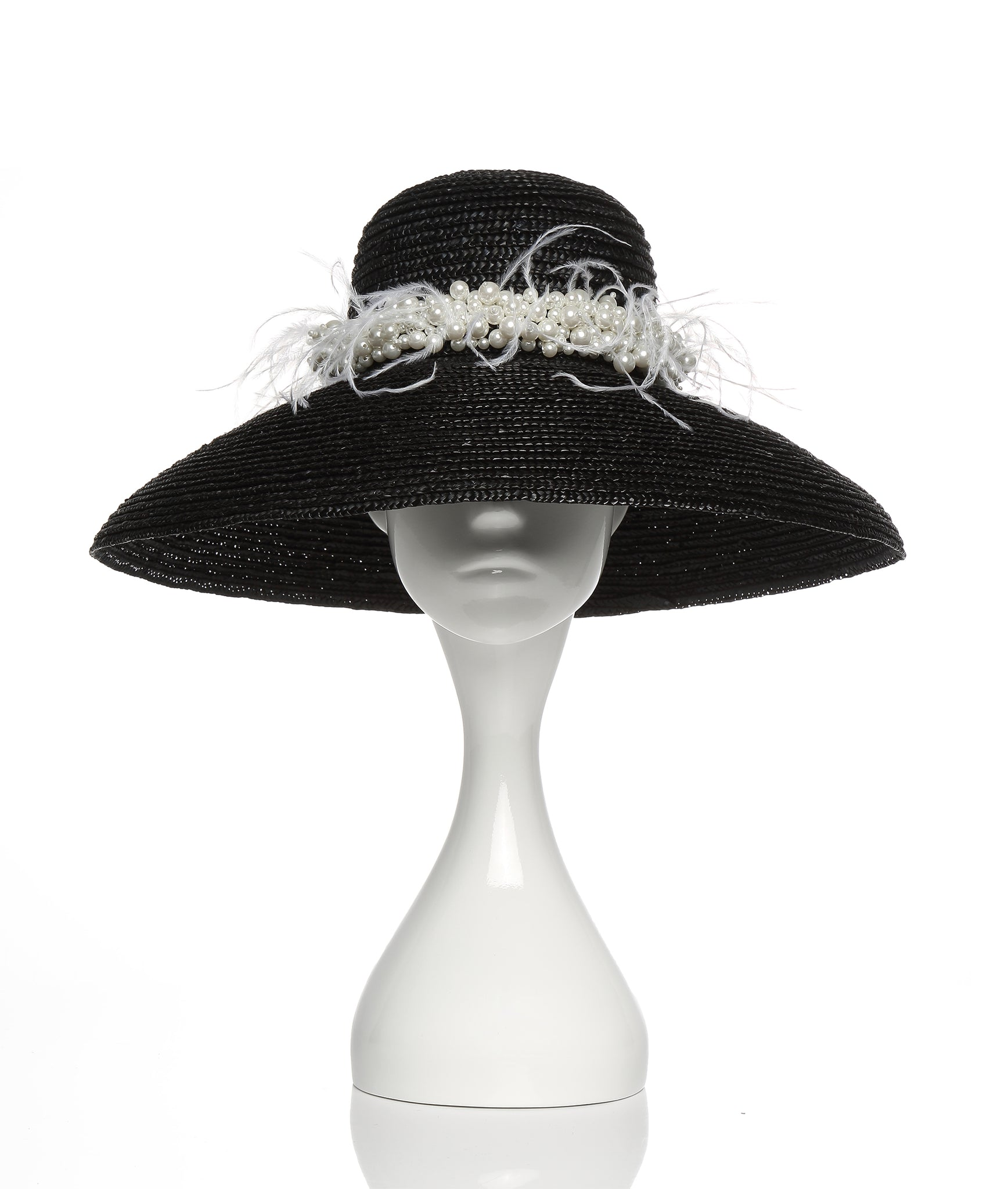 Black Straw Hat with Pearls and Ostrich Feathers
