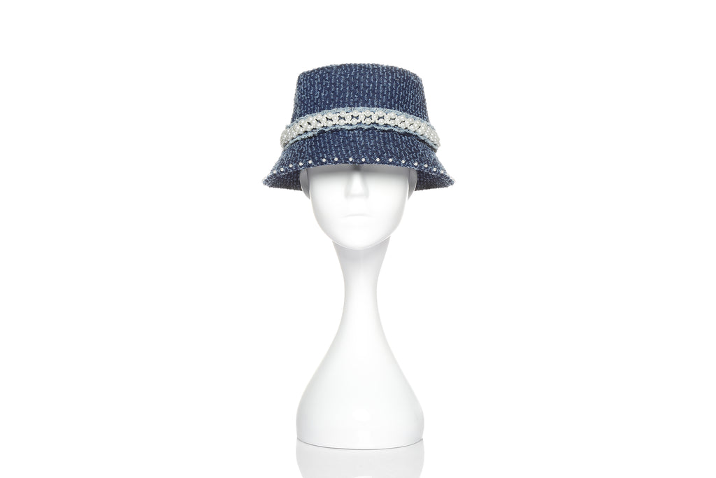 Denim Bucket Hat with Pearl Embellishments, Dark Blue