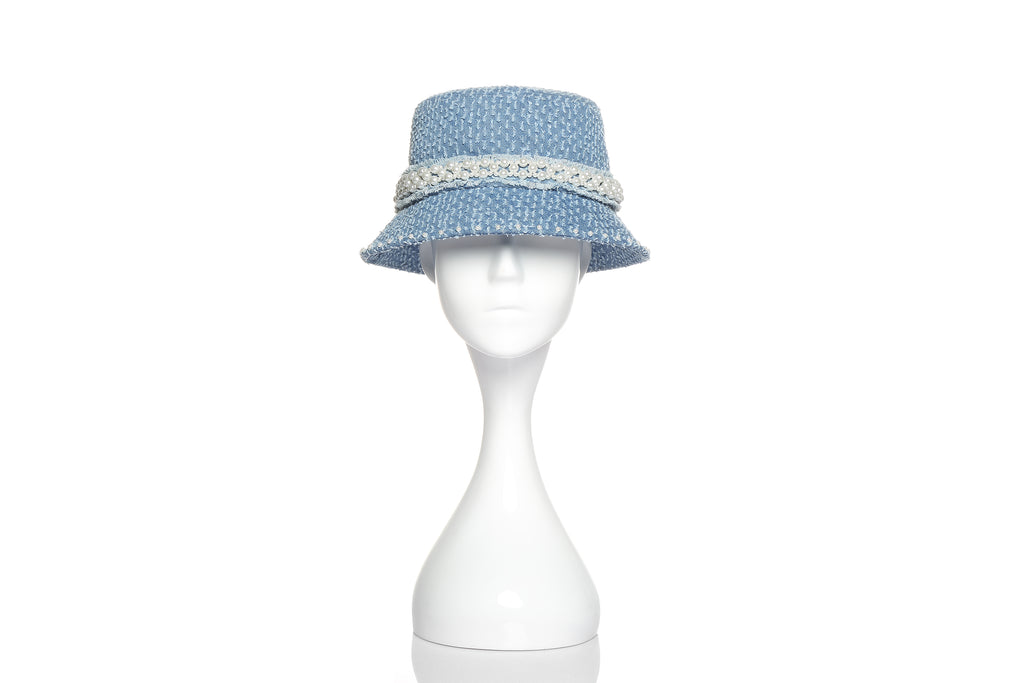 Denim Bucket Hat with Pearl Embellishments, Light Blue