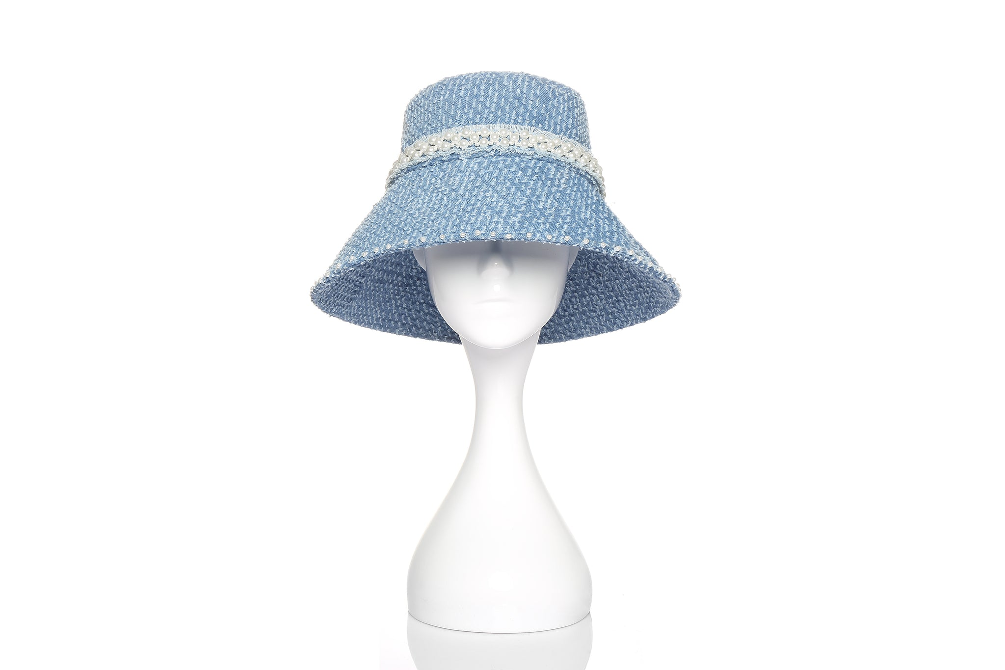 Denim Bucket Hat with Pearl Embellishments, Long Brim, Light Blue