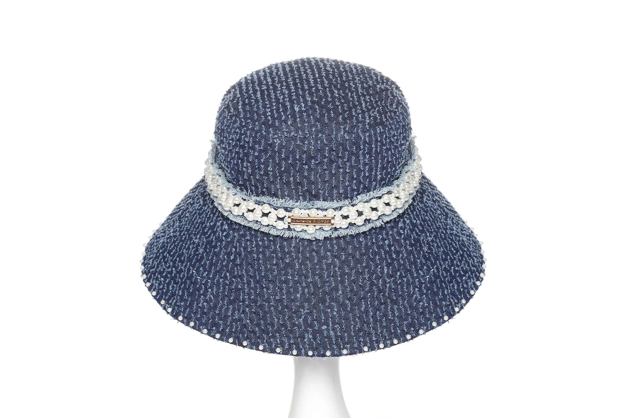 Denim Bucket Hat with Pearl Embellishments, Long Brim, Dark Blue