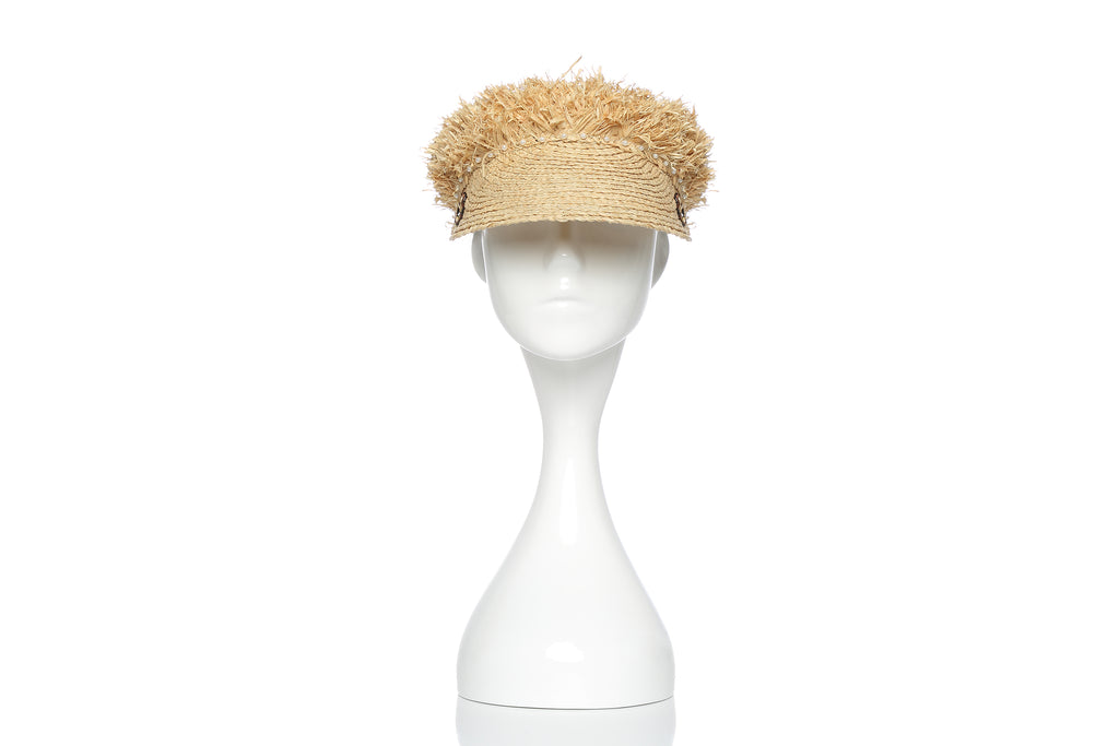 Straw and Embroidery Visor